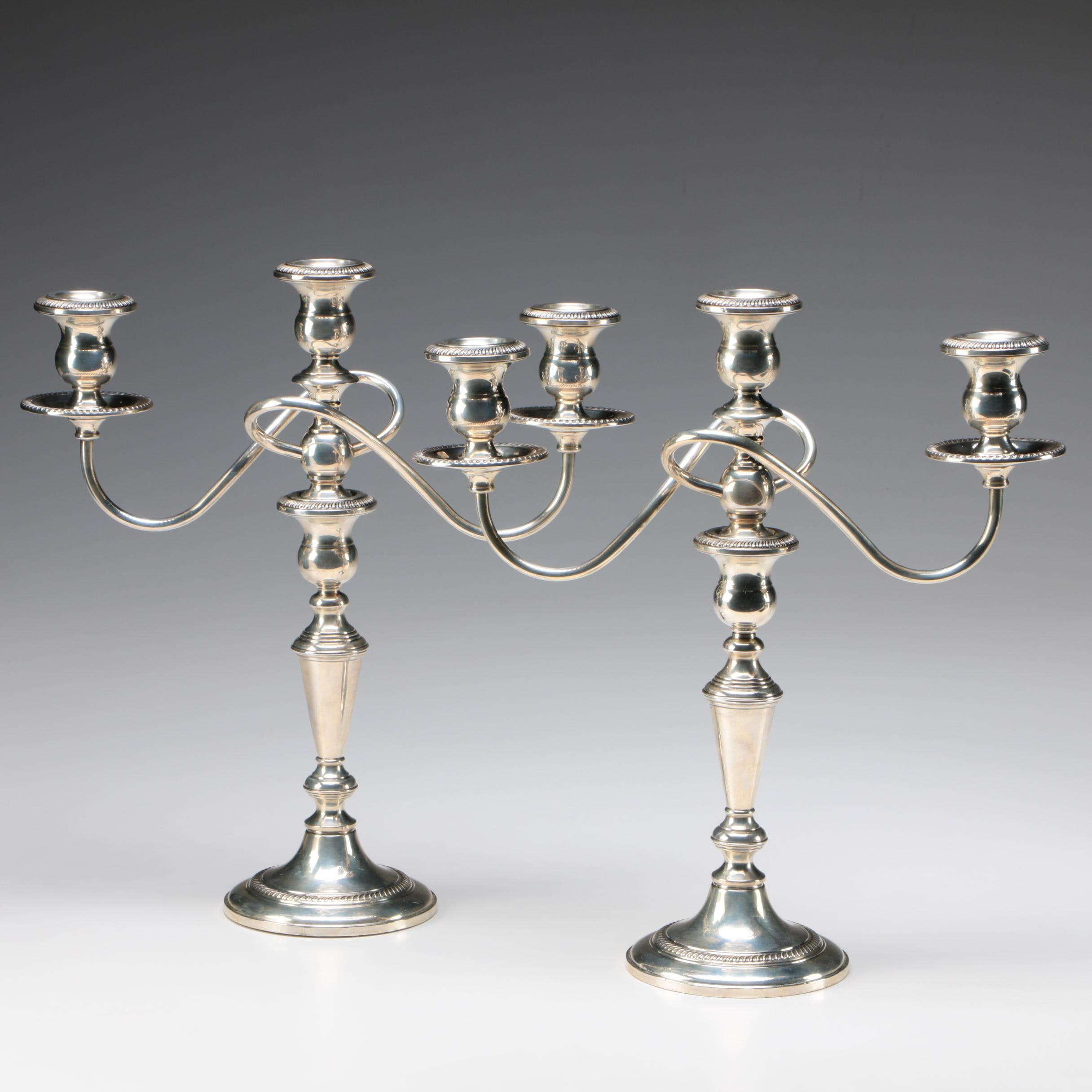 Pair of Fisher Weighted Sterling Silver Candelabra, 20th Century