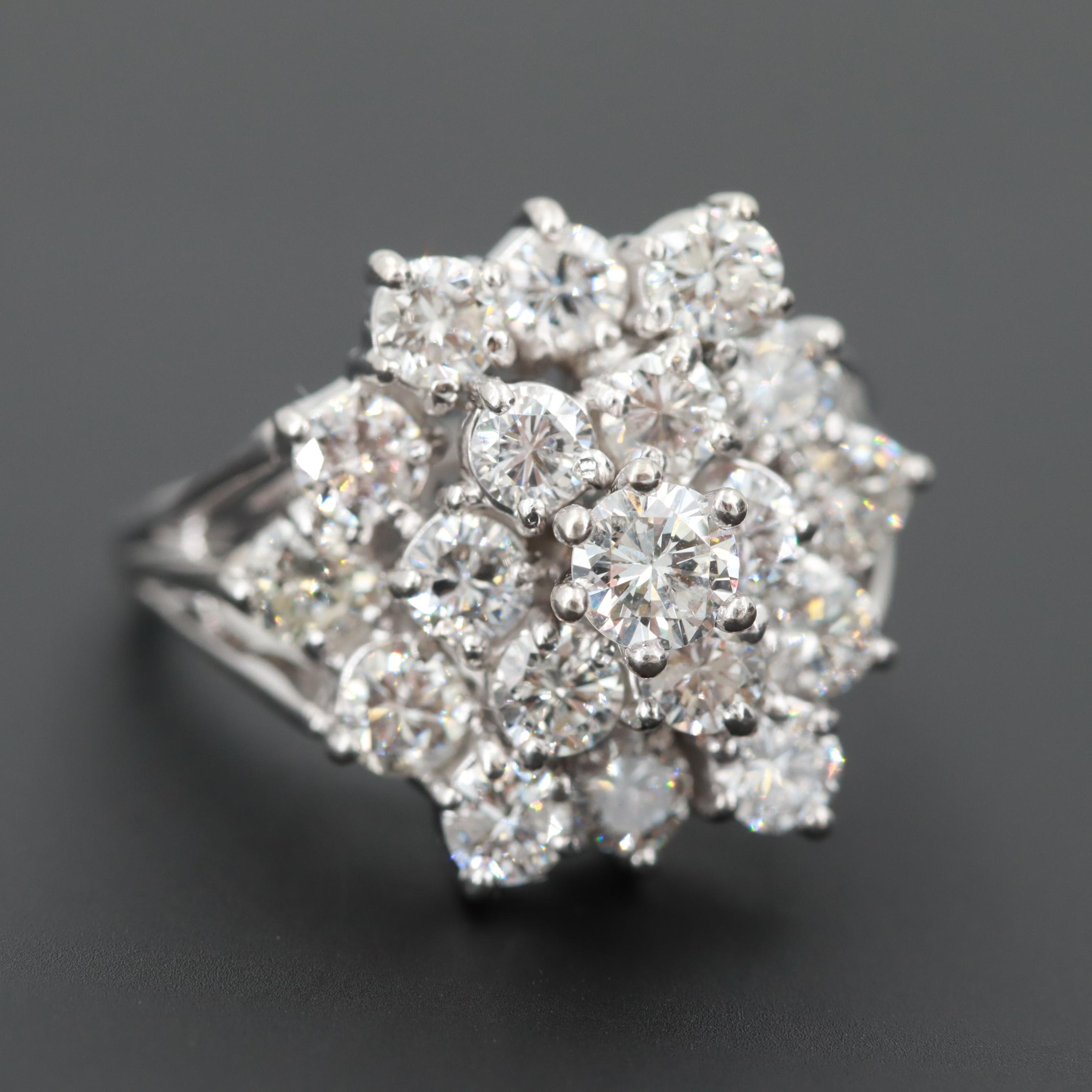 14K White Gold 2.81 CTW Diamond Cluster Ring