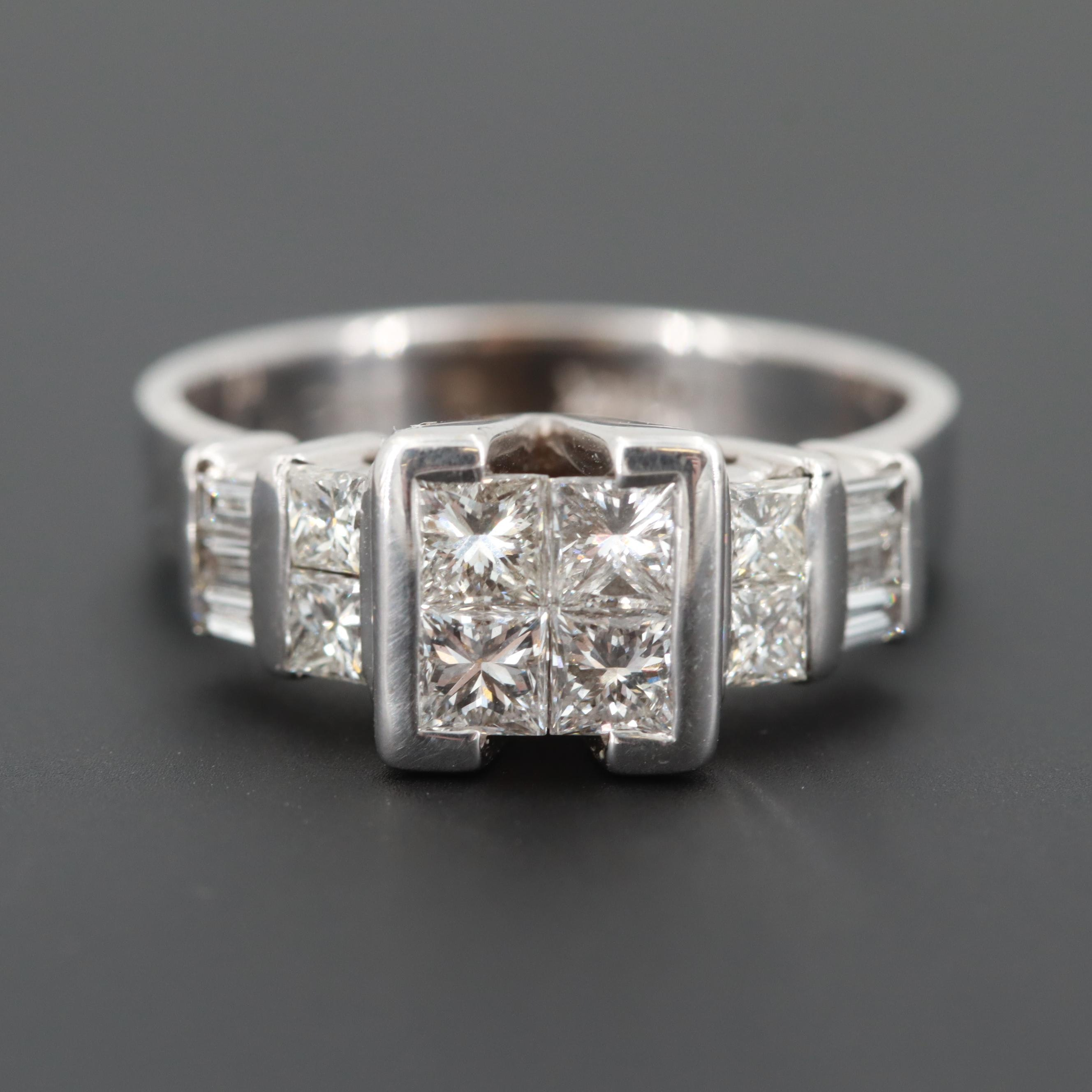 14K White Gold 1.34 CTW Diamond Ring