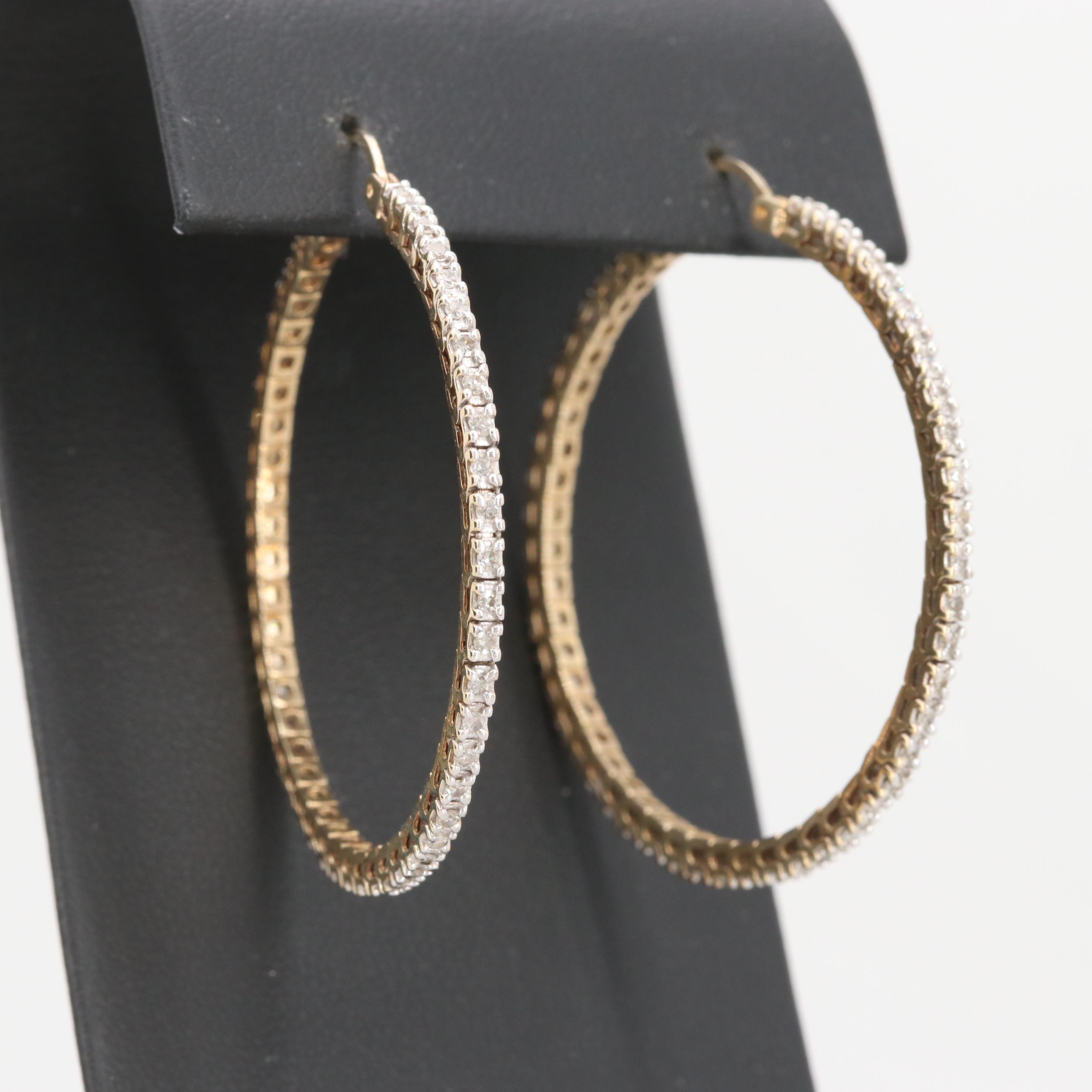 10K Yellow Gold 1.00 CTW Diamond Hoop Earrings