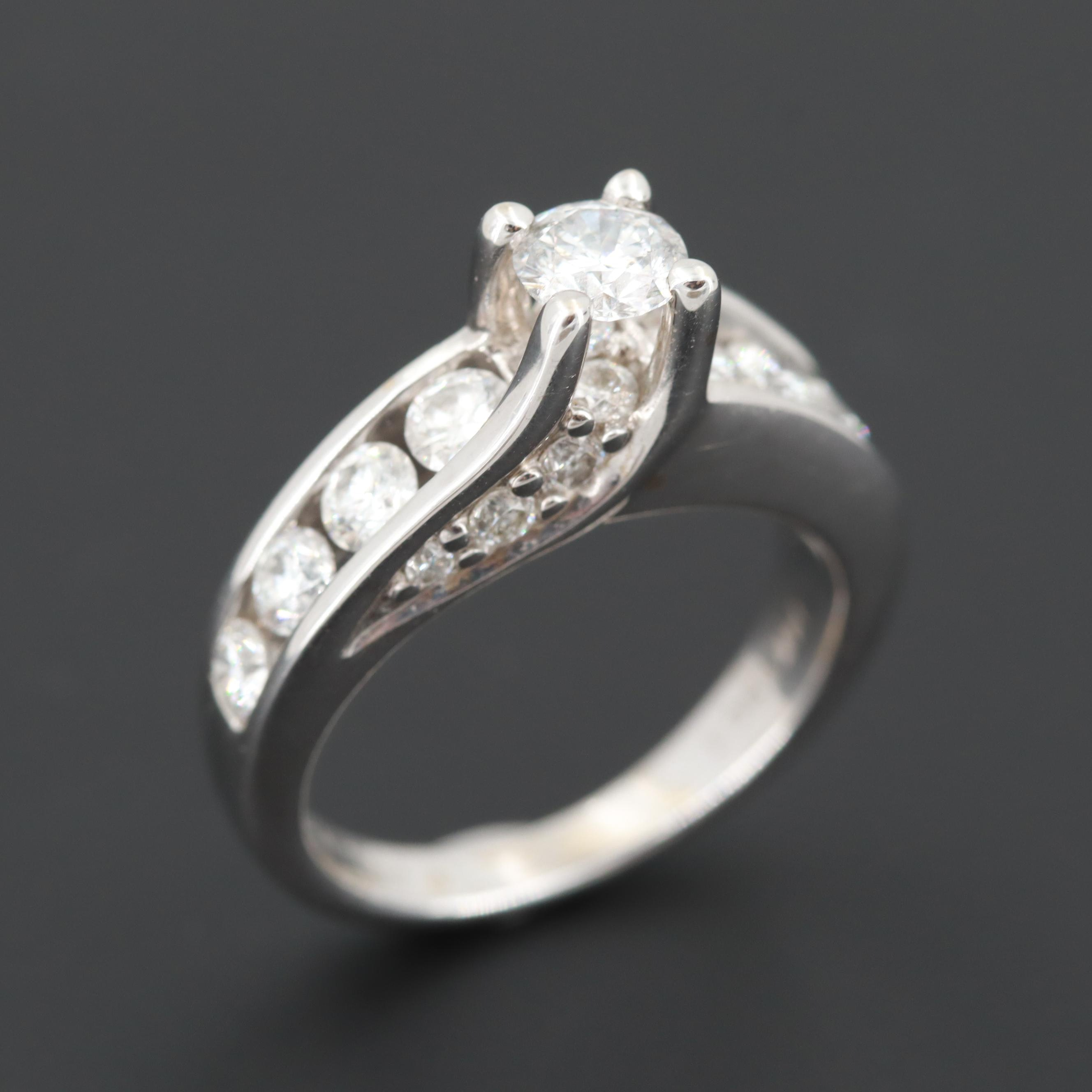 Leo Schachter 14K White Gold 1.04 CTW Diamond Ring