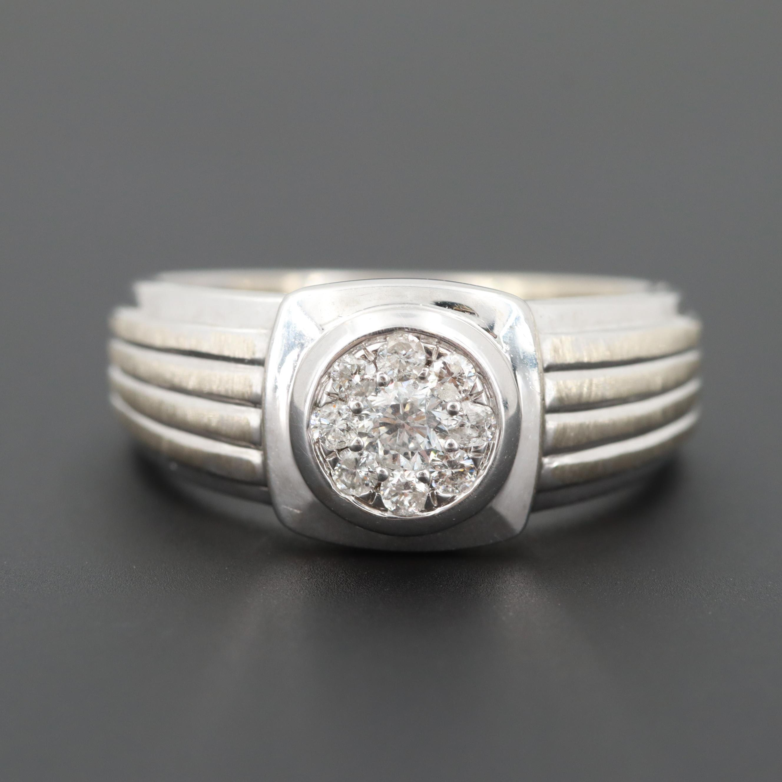 Art Deco 10K White Gold Diamond Ring