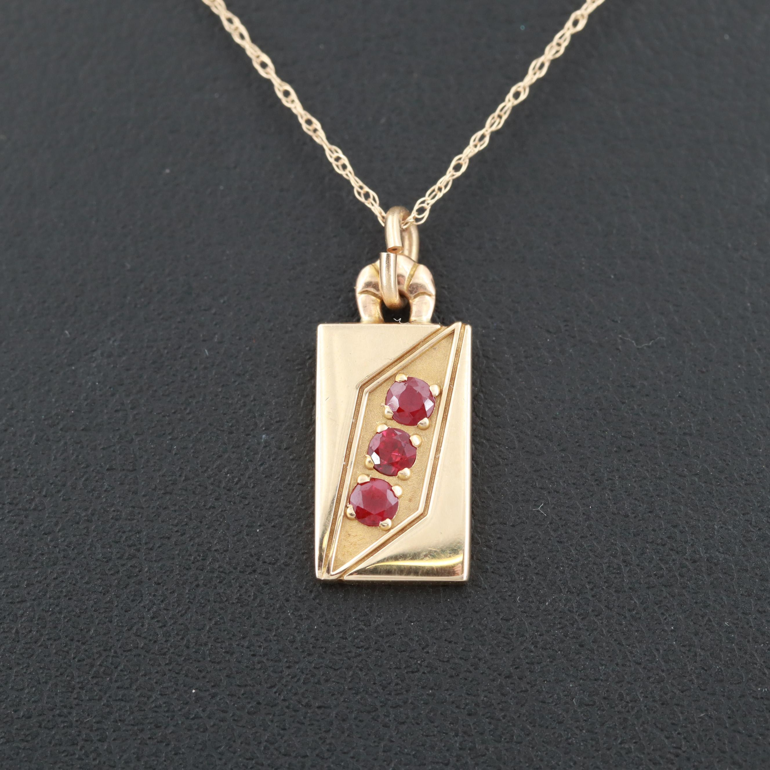 O. C. Tanner 14K Yellow Gold Ruby Pendant Necklace