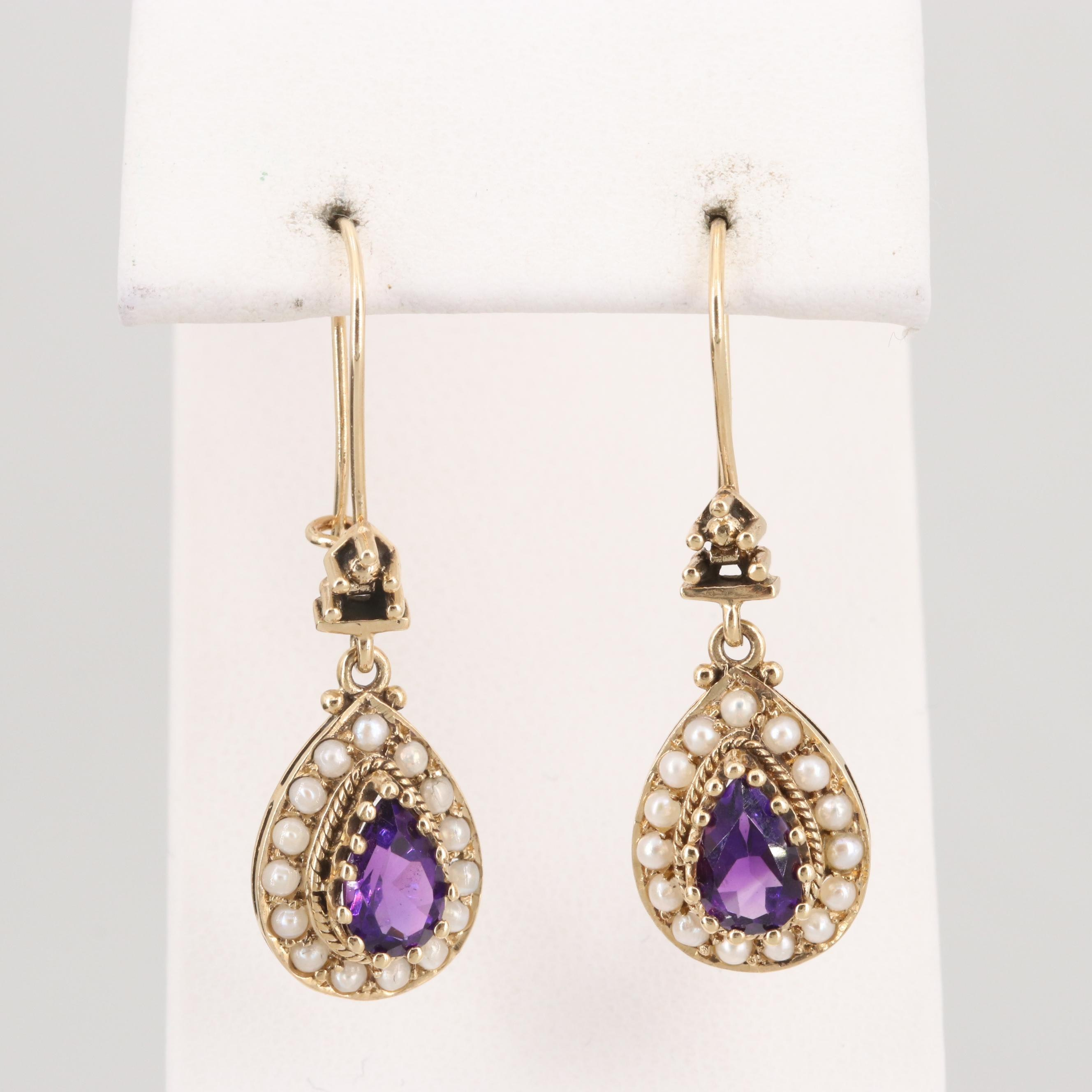 14K Yellow Gold Amethyst and Seed Pearl Dangle Drop Earrings