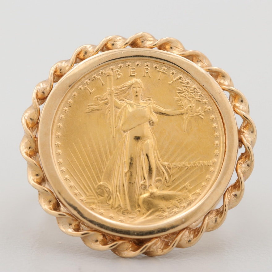 14K Yellow Gold Ring with 1987 $5 Gold Eagle Bullion Coin