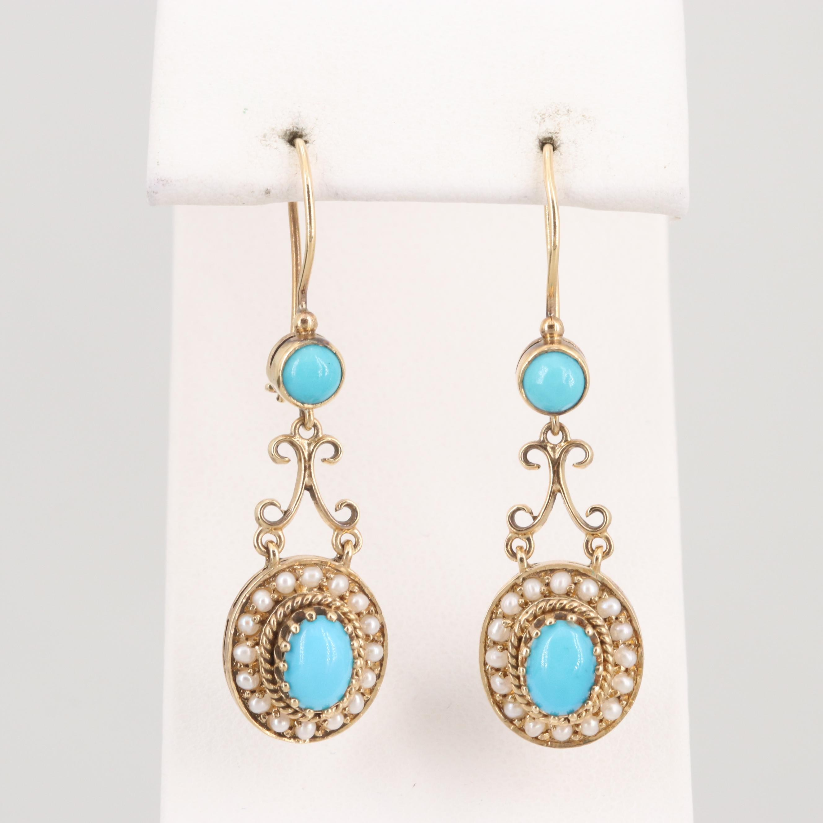 14K Yellow Gold Turquoise and Seed Pearl Dangle Drop Earrings