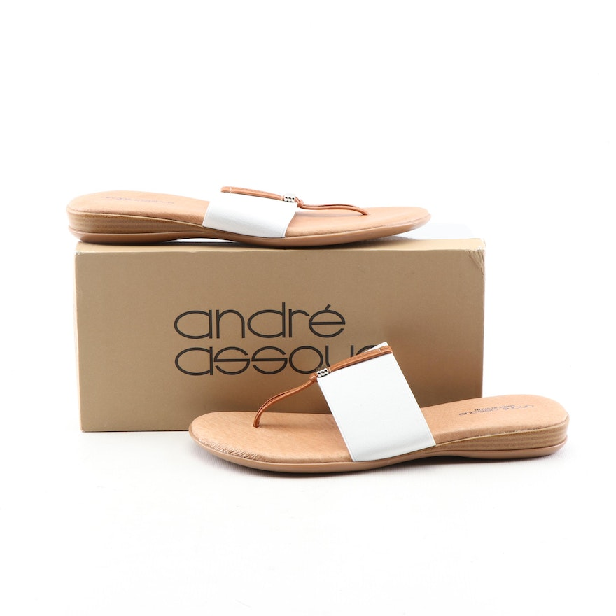 dd38bc51a55a André Assous Nice White Elastic and Tan Leather Flip-Flop Sandals   EBTH