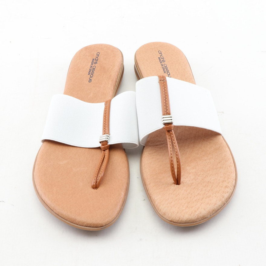 Andr Assous Nice White Elastic And Tan Leather Flip-Flop Sandals  Ebth-3243