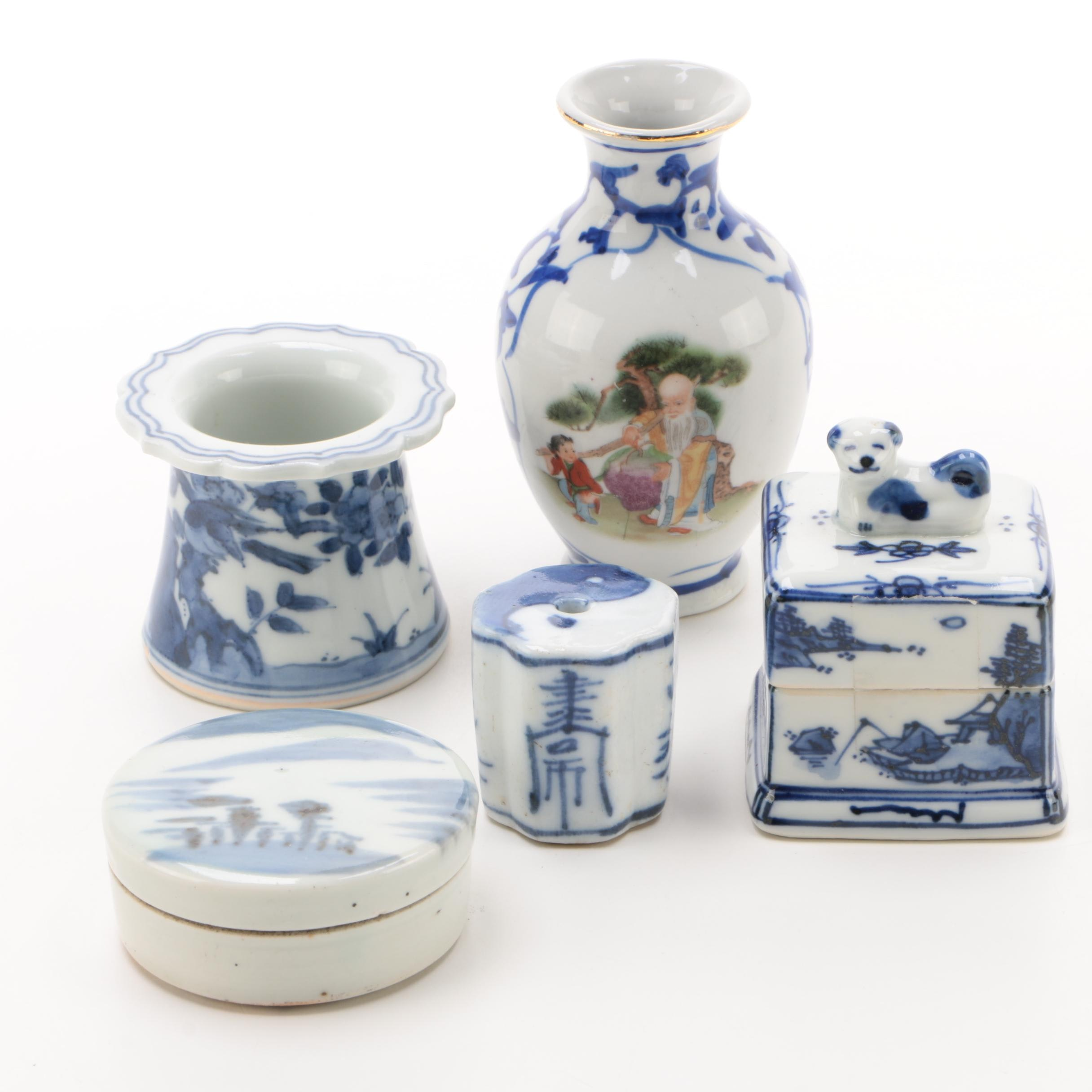 Chinese Blue Porcelain Miniature Vase, Box, and More