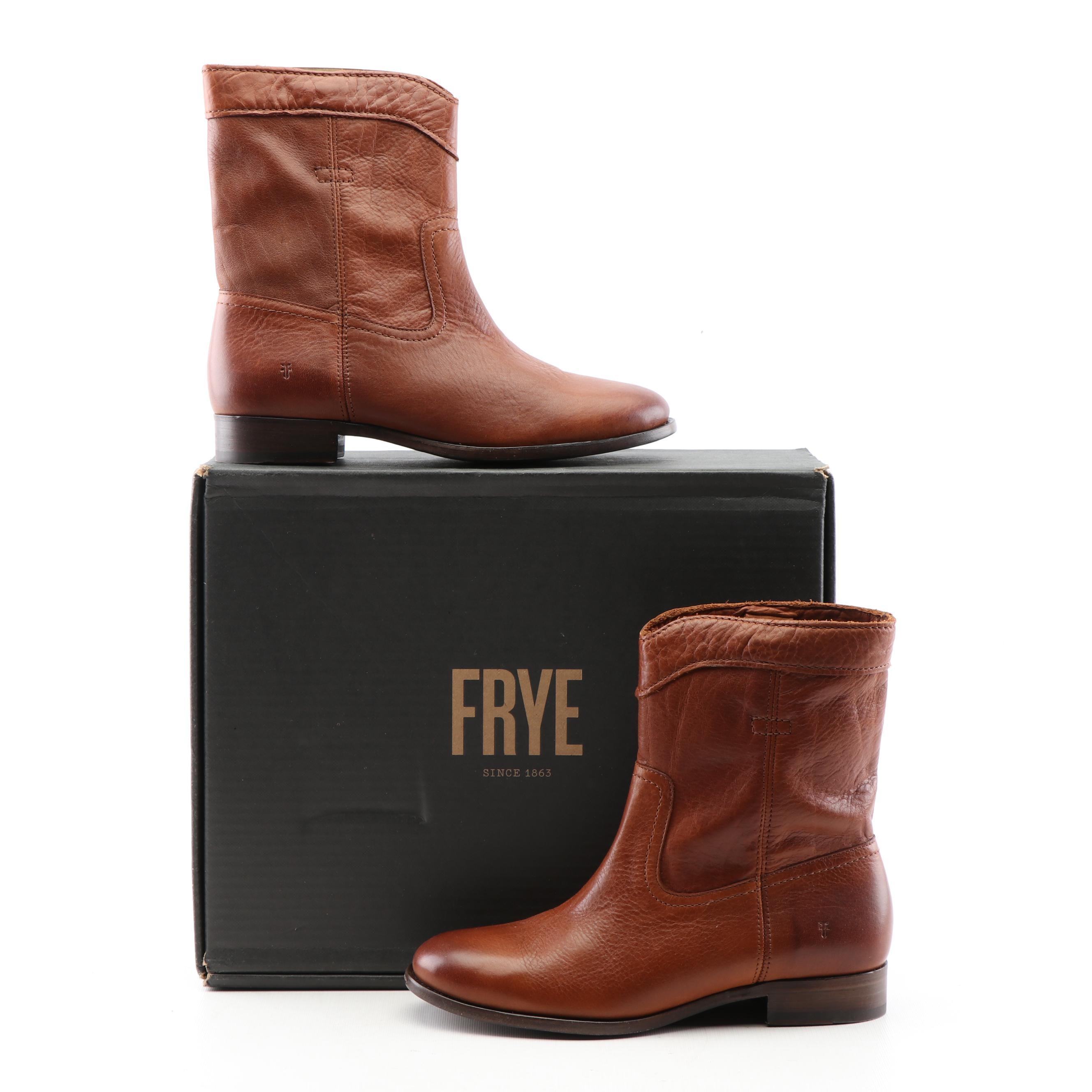 Frye Cara Roper Short Cognac Leather Boots