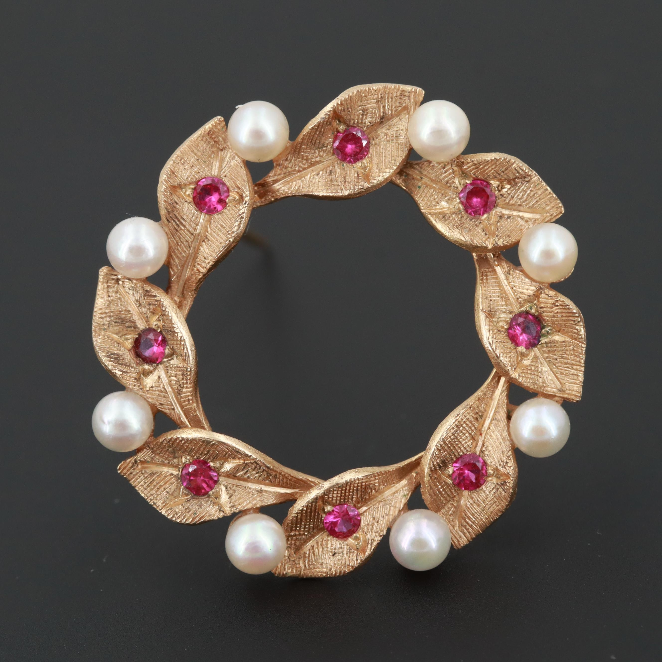 14K Yellow Gold Synthetic Ruby and Cultured Pearl Brooch