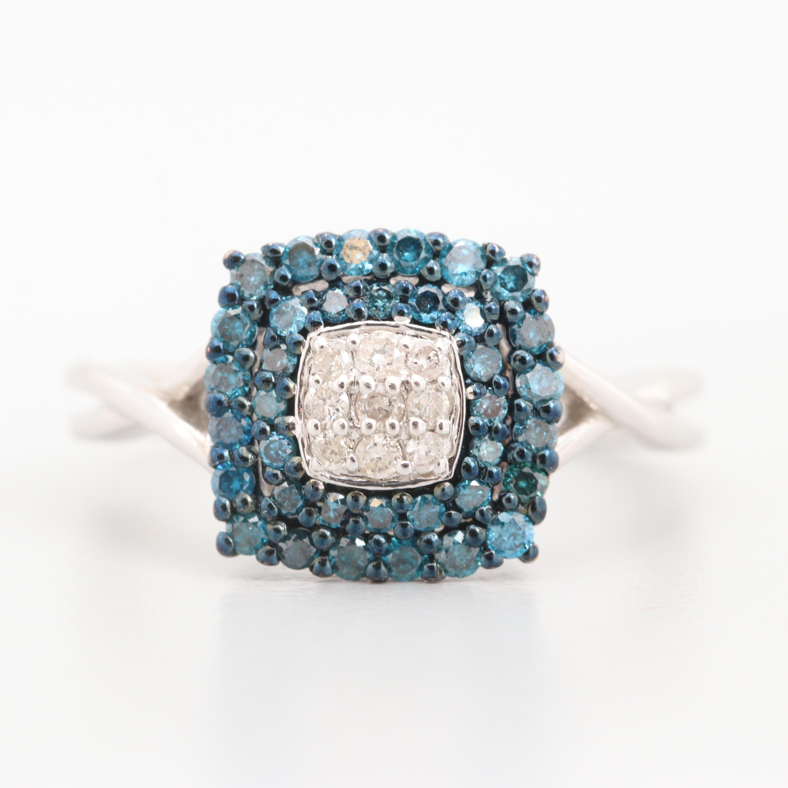 10K White Gold Diamond Ring Featuring Blue Diamonds