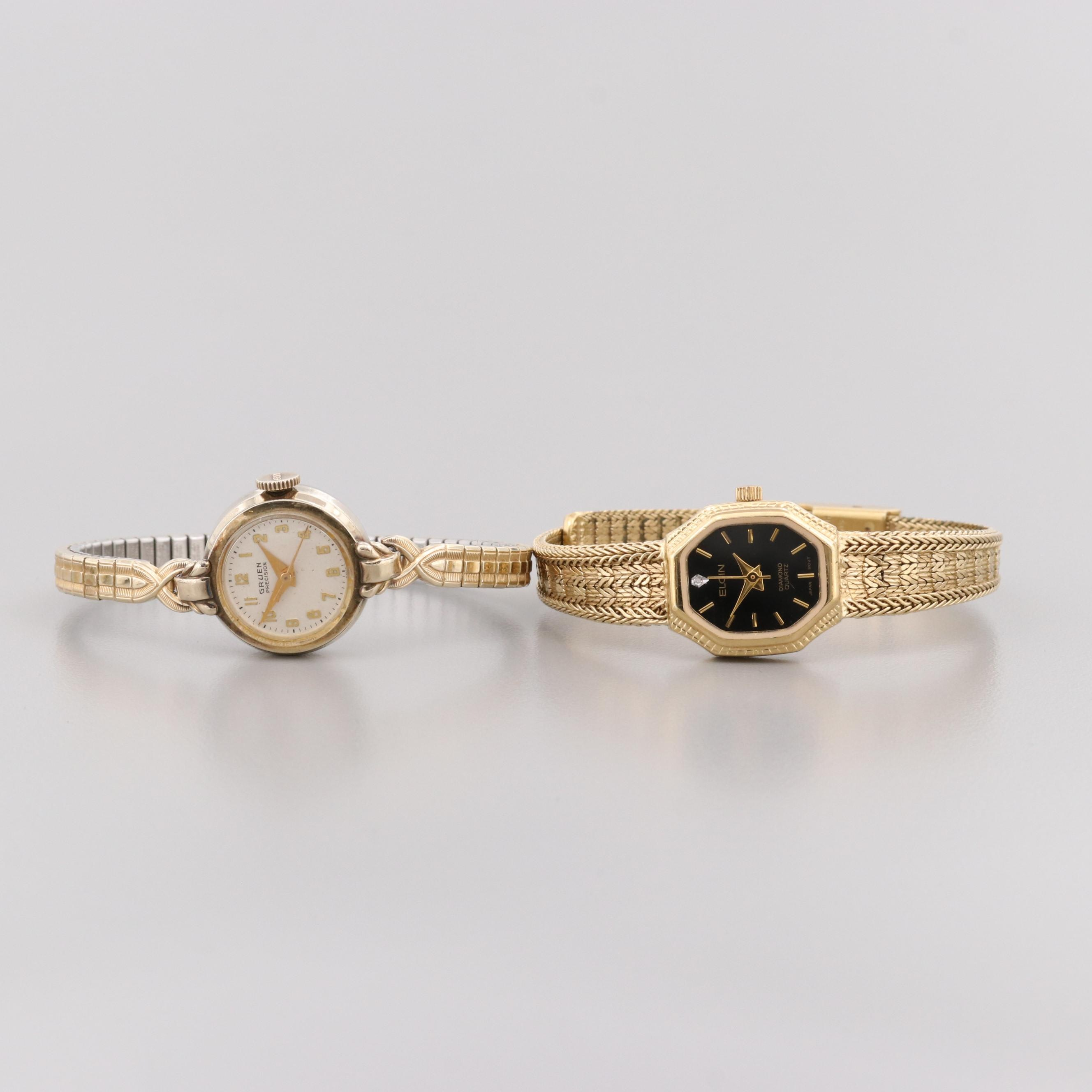 Gold Tone Wristwatches Featuring Gruen Stem Wind and Elgin Quartz With Diamond