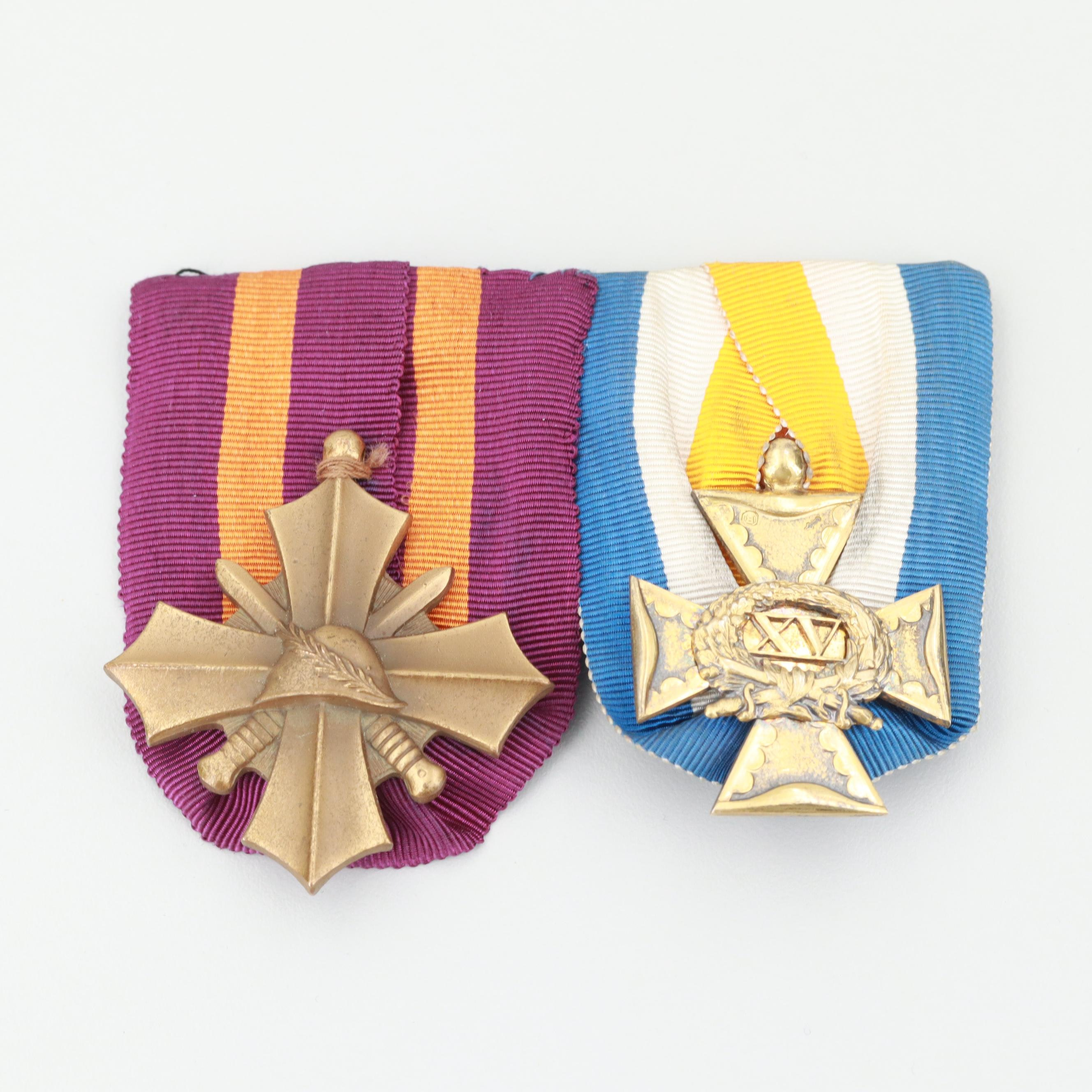 Pair of Netherlands Military Medals Including 833 Silver