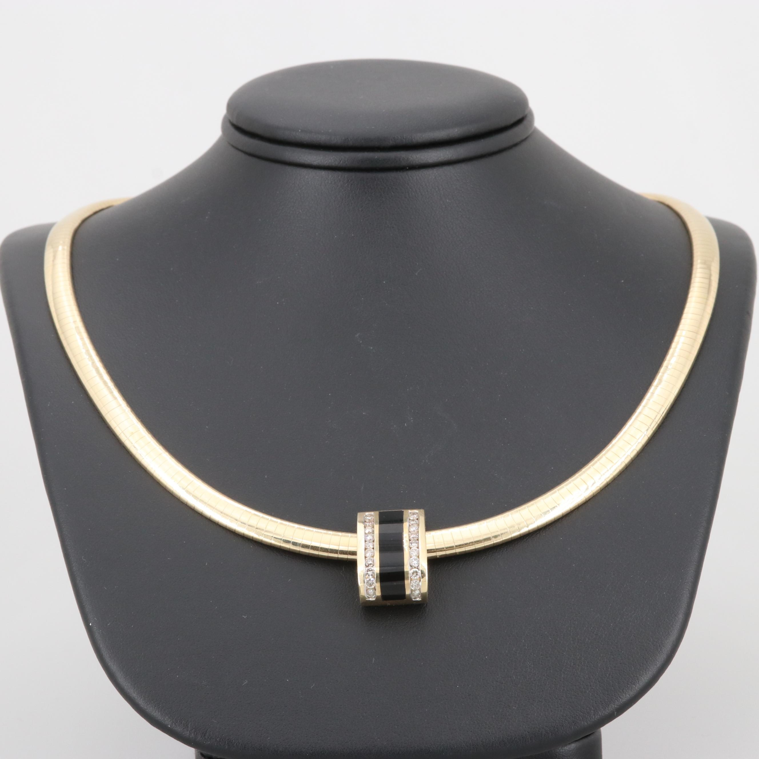 14K Yellow Gold Black Onyx and Diamond Pendant Collar Necklace