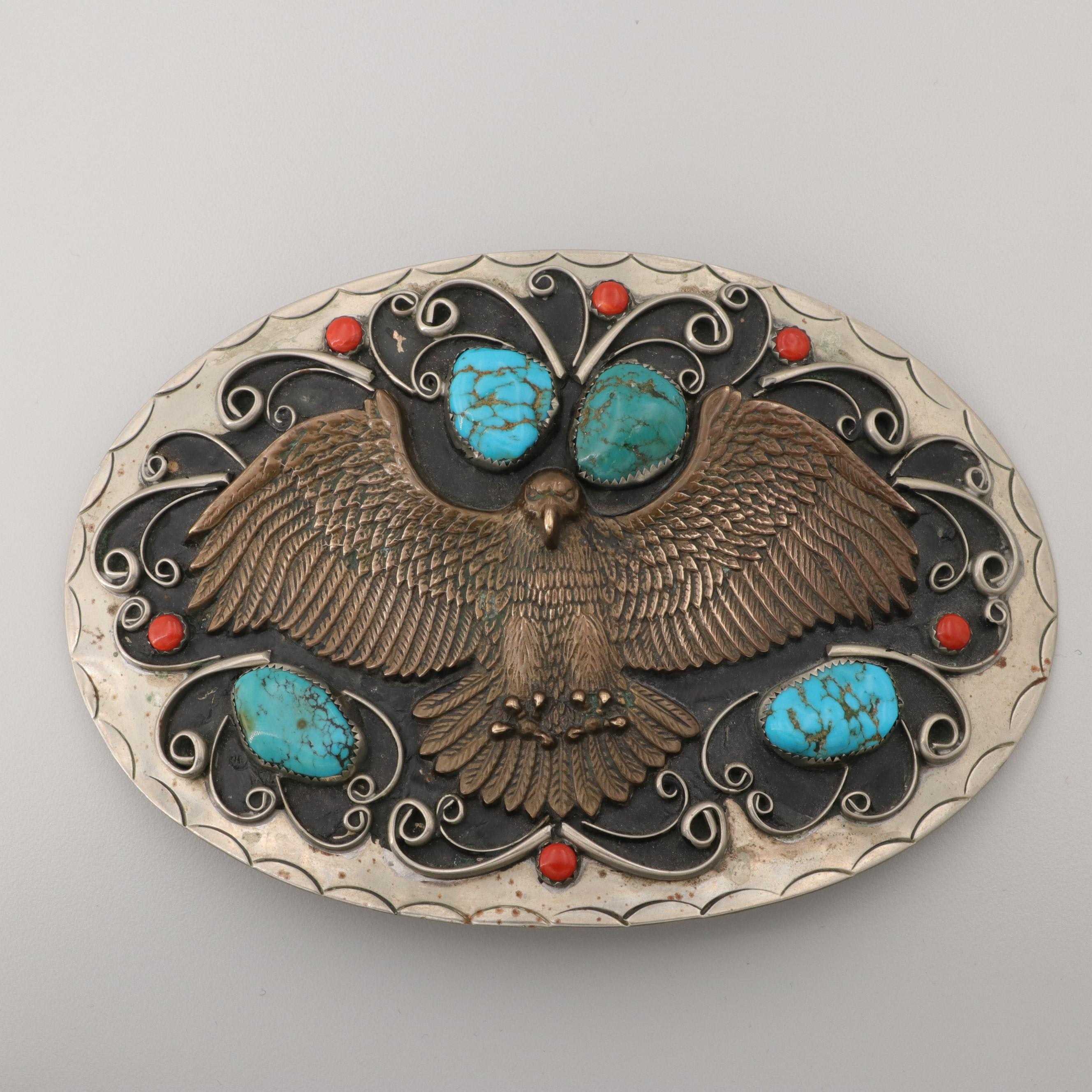 Southwestern Style Turquoise and Coral Belt Buckle Featuring Cast Brass Eagle