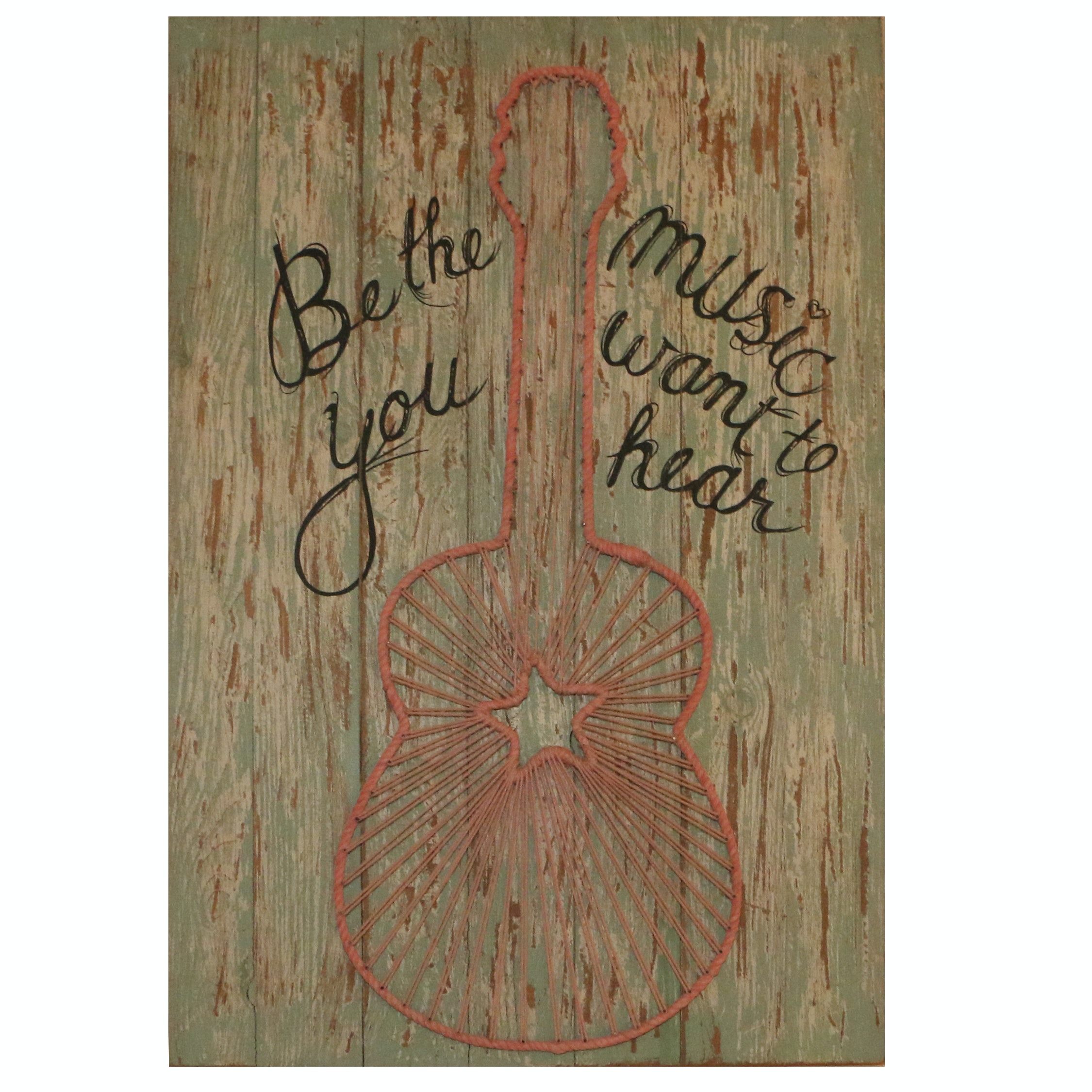 Printed Faux Distressed Wood and String Art Panel