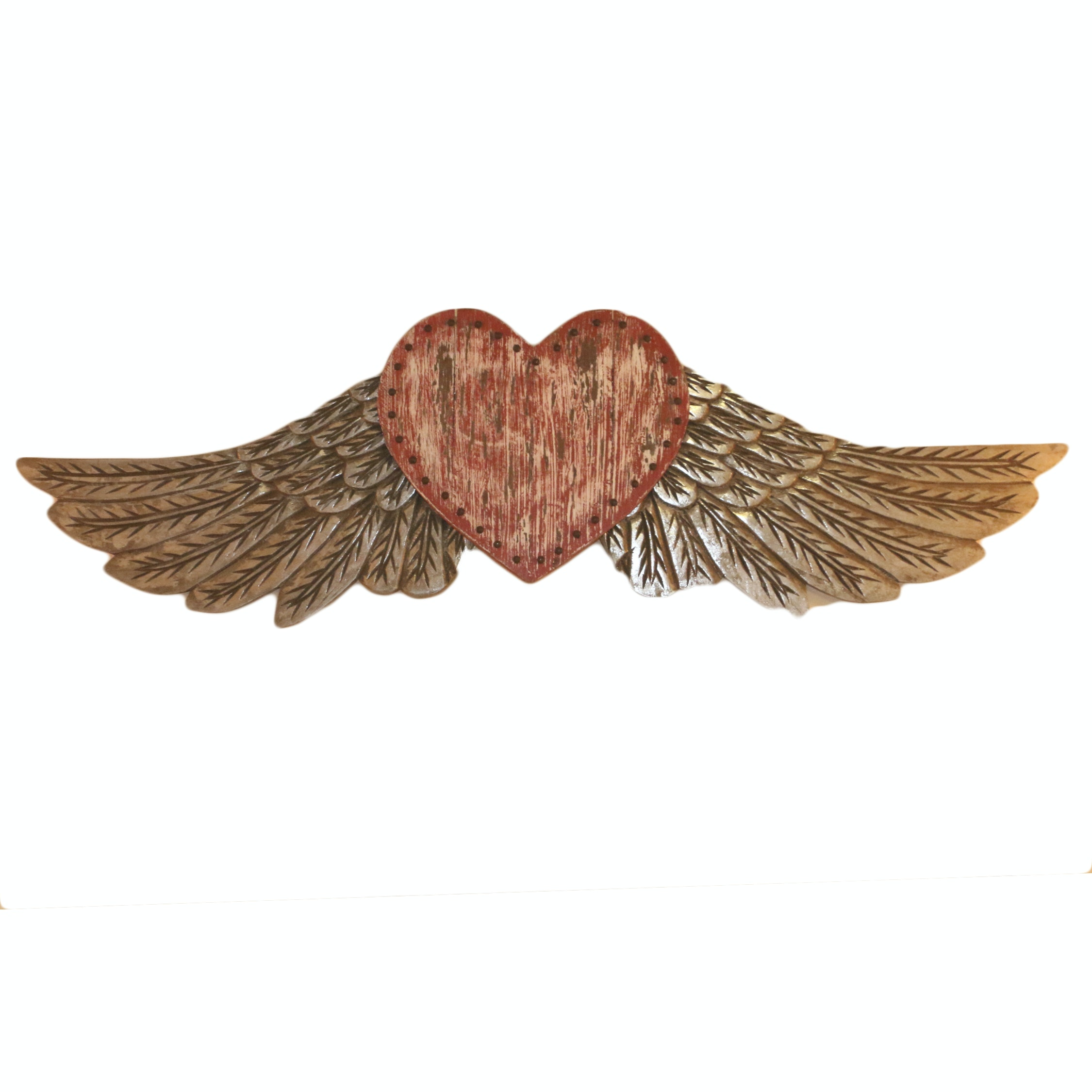 Folk Art Style Painted Wood Winged Heart Wall Decor