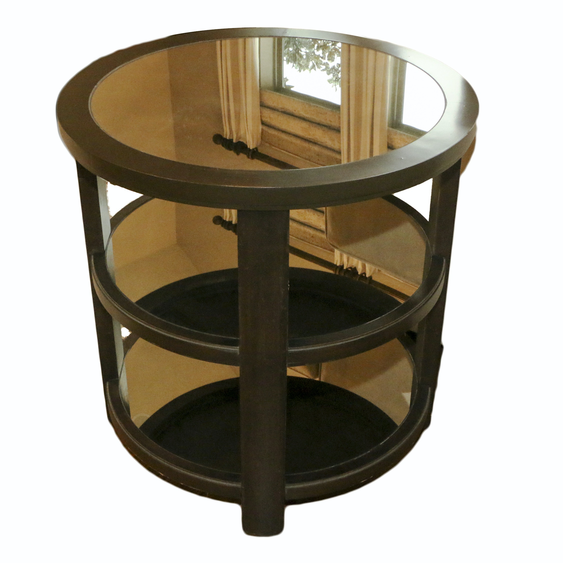 Mirror Top Three-Tier Side Table by Uttermost, 21st Century