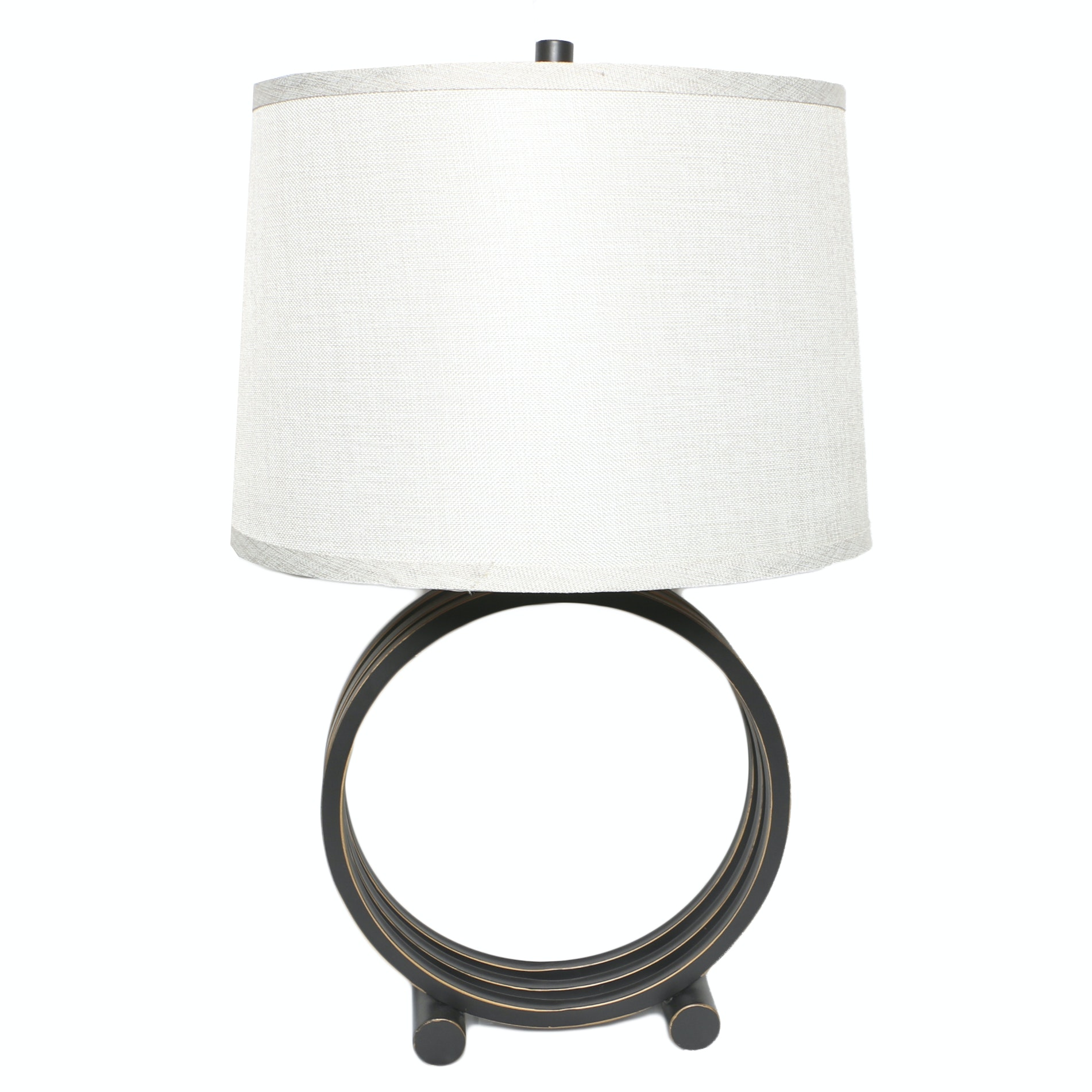 Bronze Colored Layered Metal Ring Table Lamp with Drum Shade