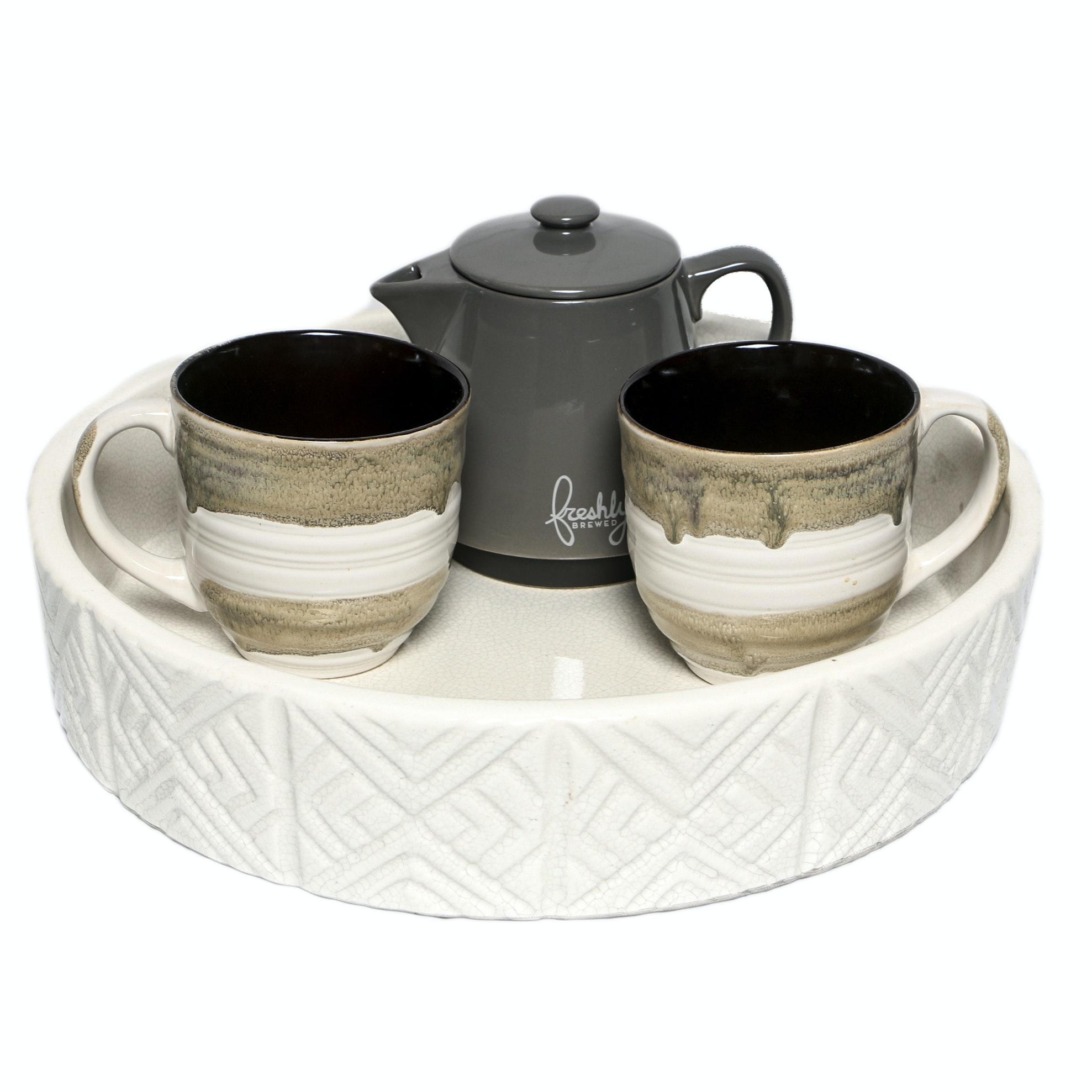 Ceramic Mugs, Coffee Pot, and Tray