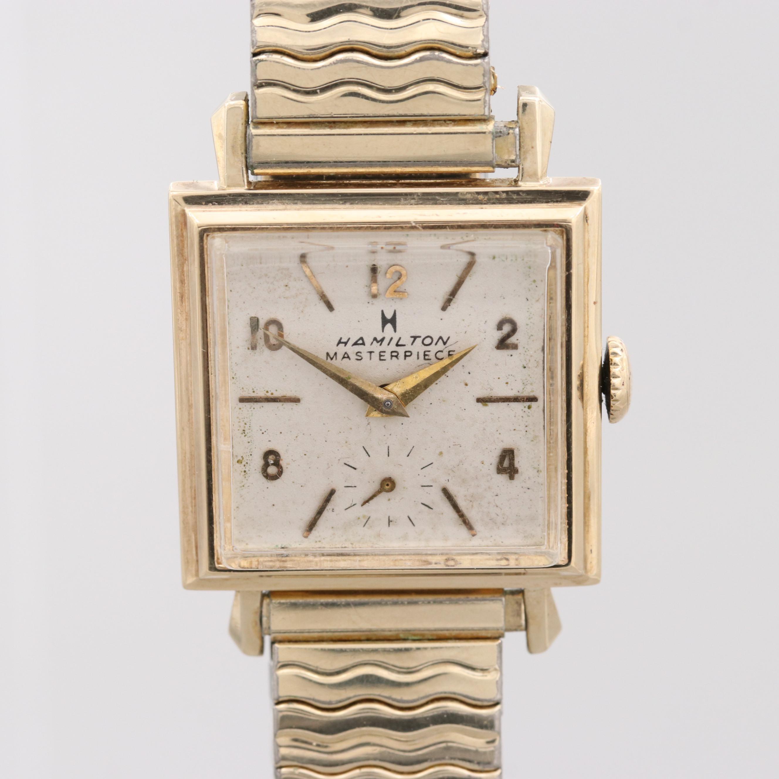 """Vintage Hamilton """"Masterpiece"""" 14k Yellow Gold Stem Wind Wristwatch"""