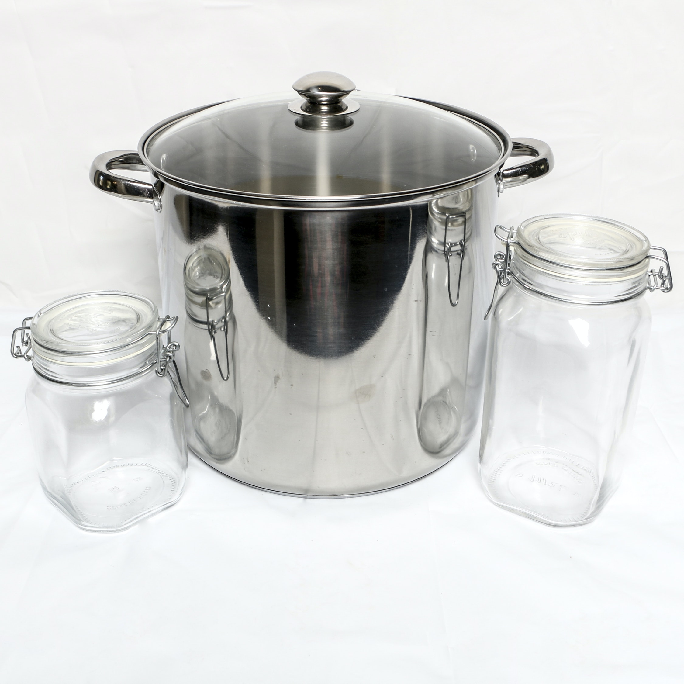 Excel Steel Stainless Steel Stock Pot with Glass Mason Jars