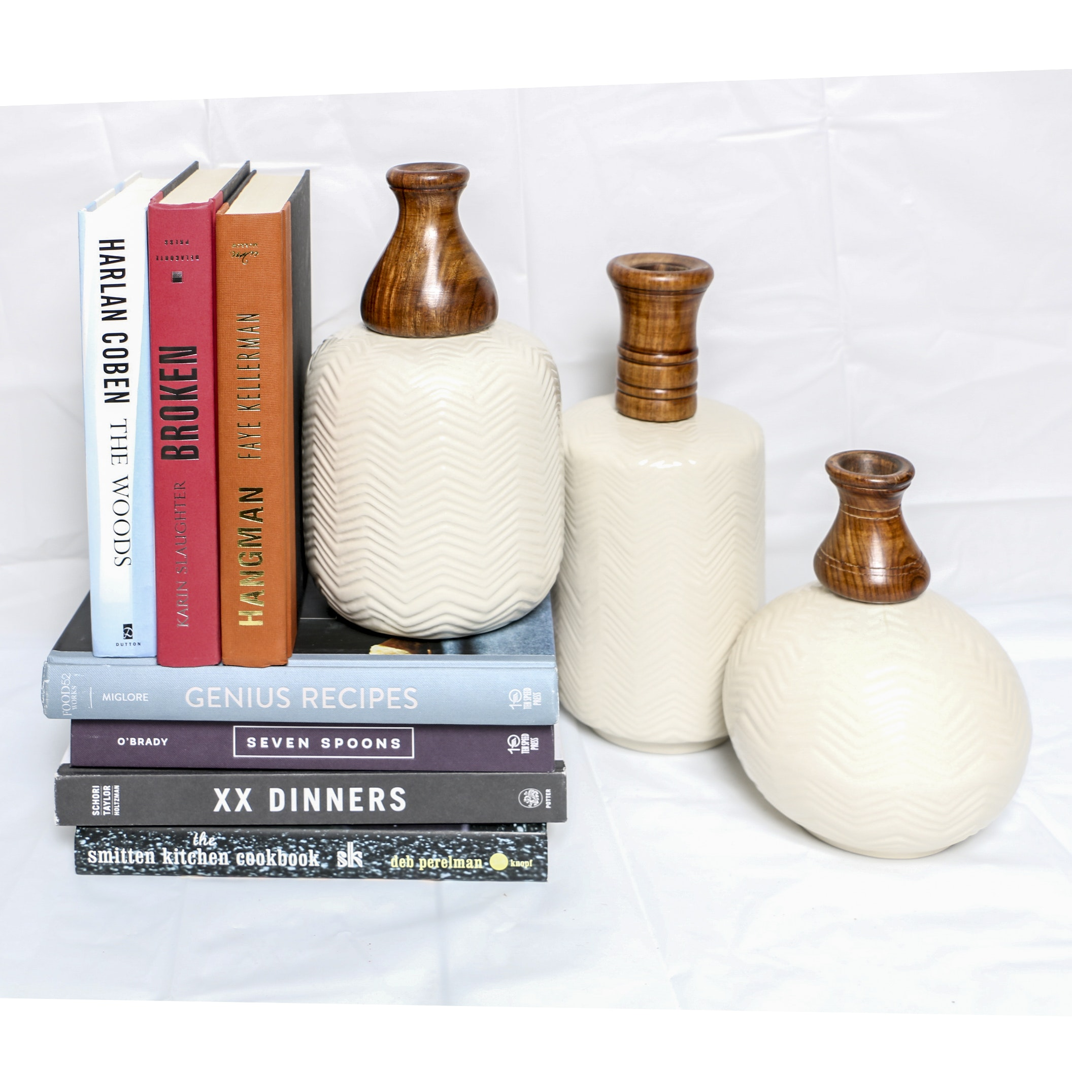 Decorative Ceramic and Wood Vases with Books