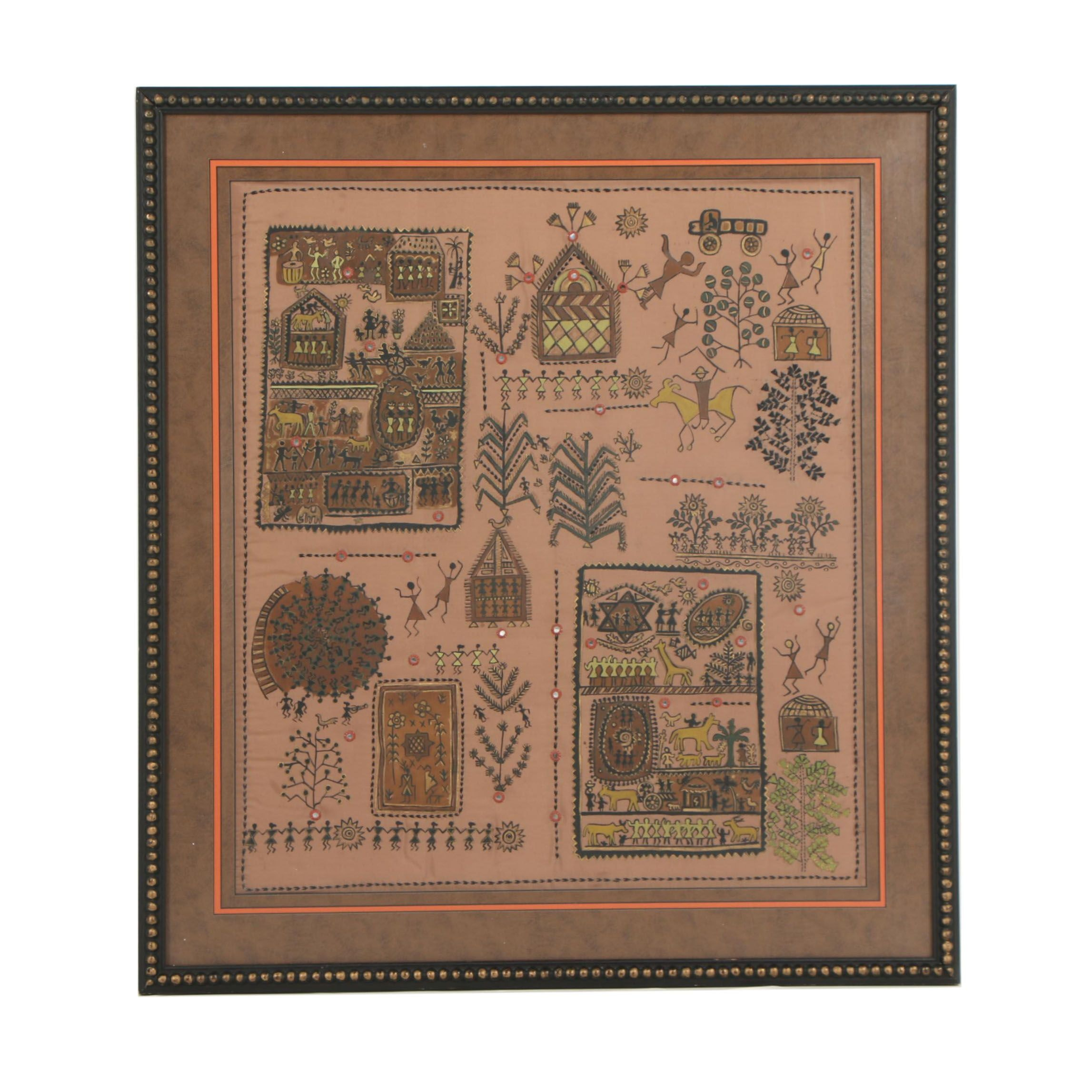 Indian Warli Embroidered Painting