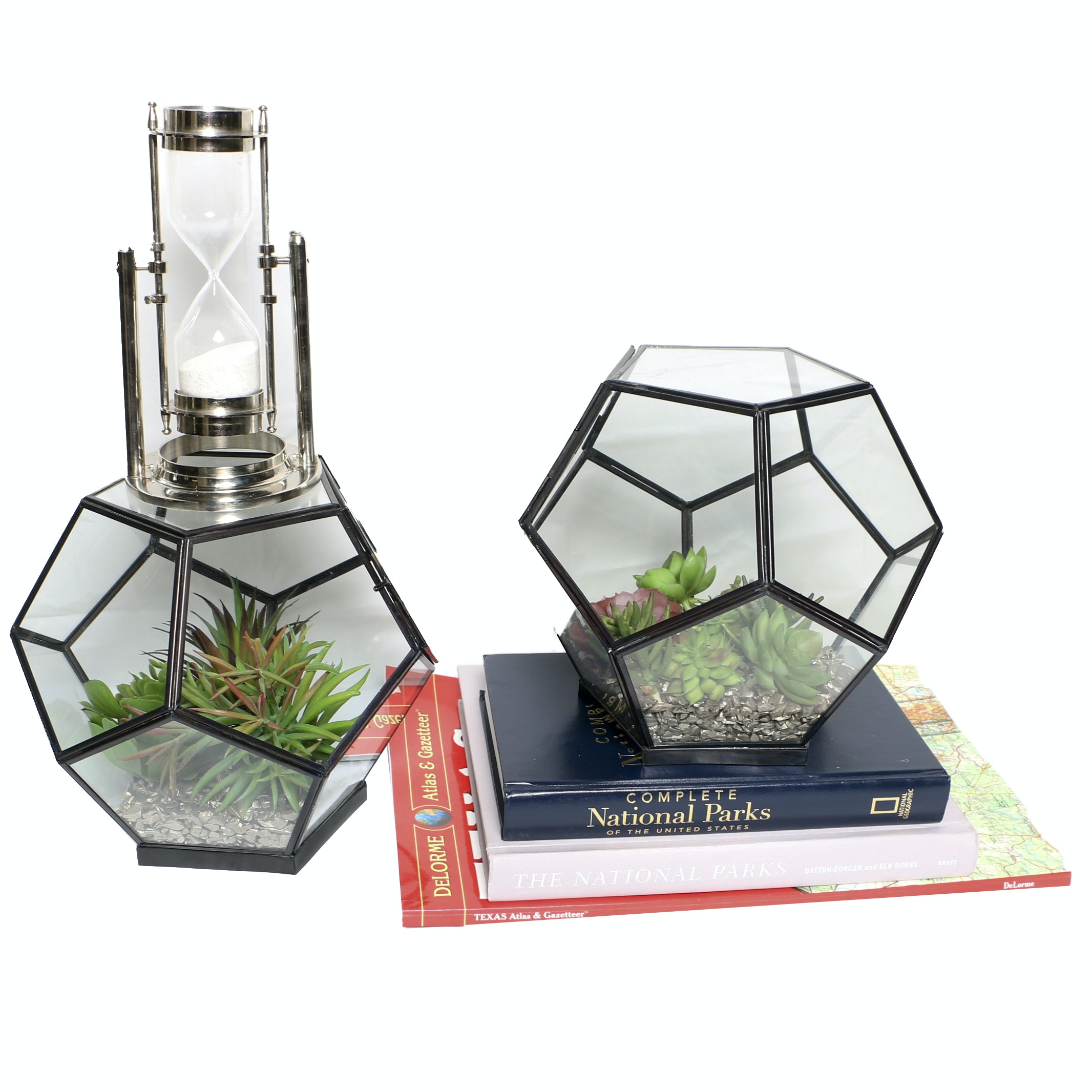 Honeycomb Terrariums with Faux Succulents, an Hour Glass, and Books