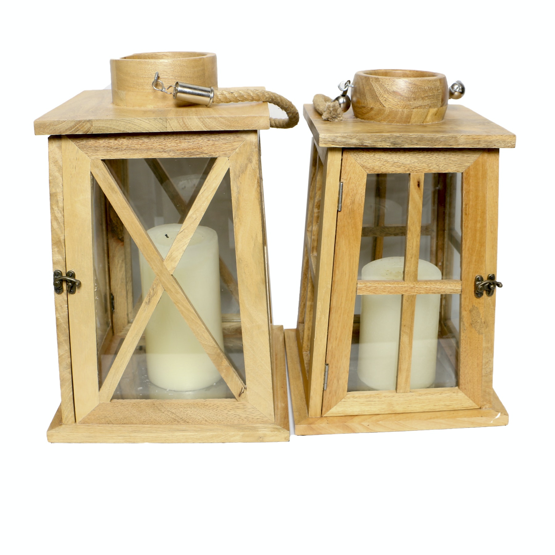 Wood and Glass Candle Lanterns