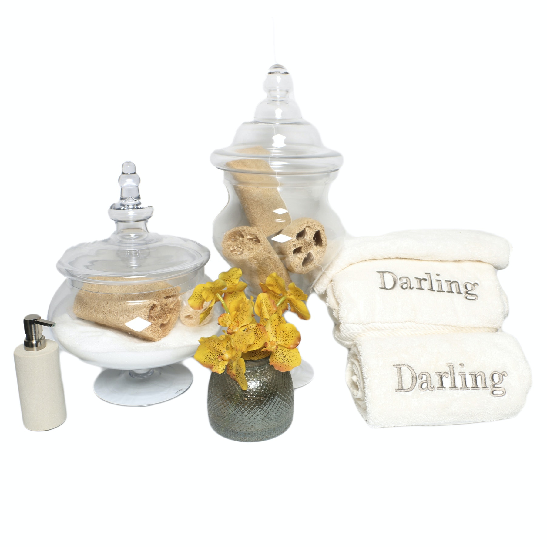 Bathroom Accessories including Towels and Soap Dispenser