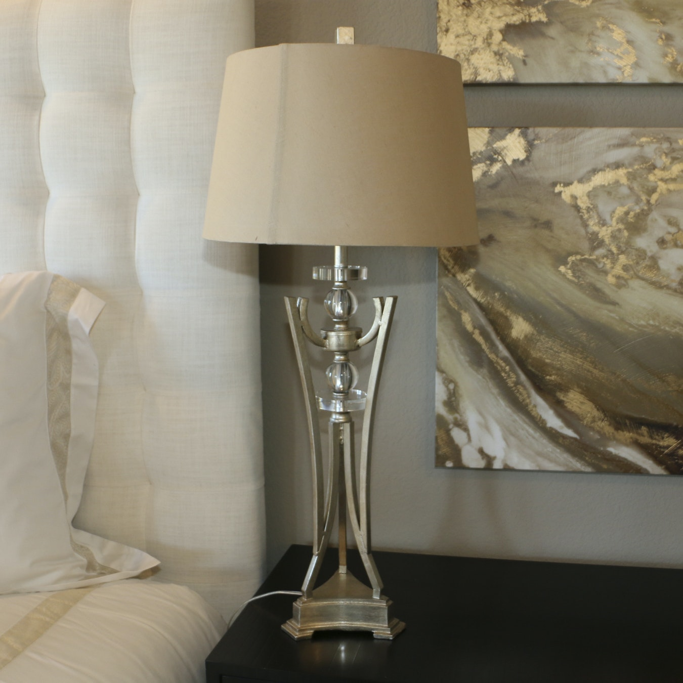 Metallic and Glass Structural Table Lamp with Shade