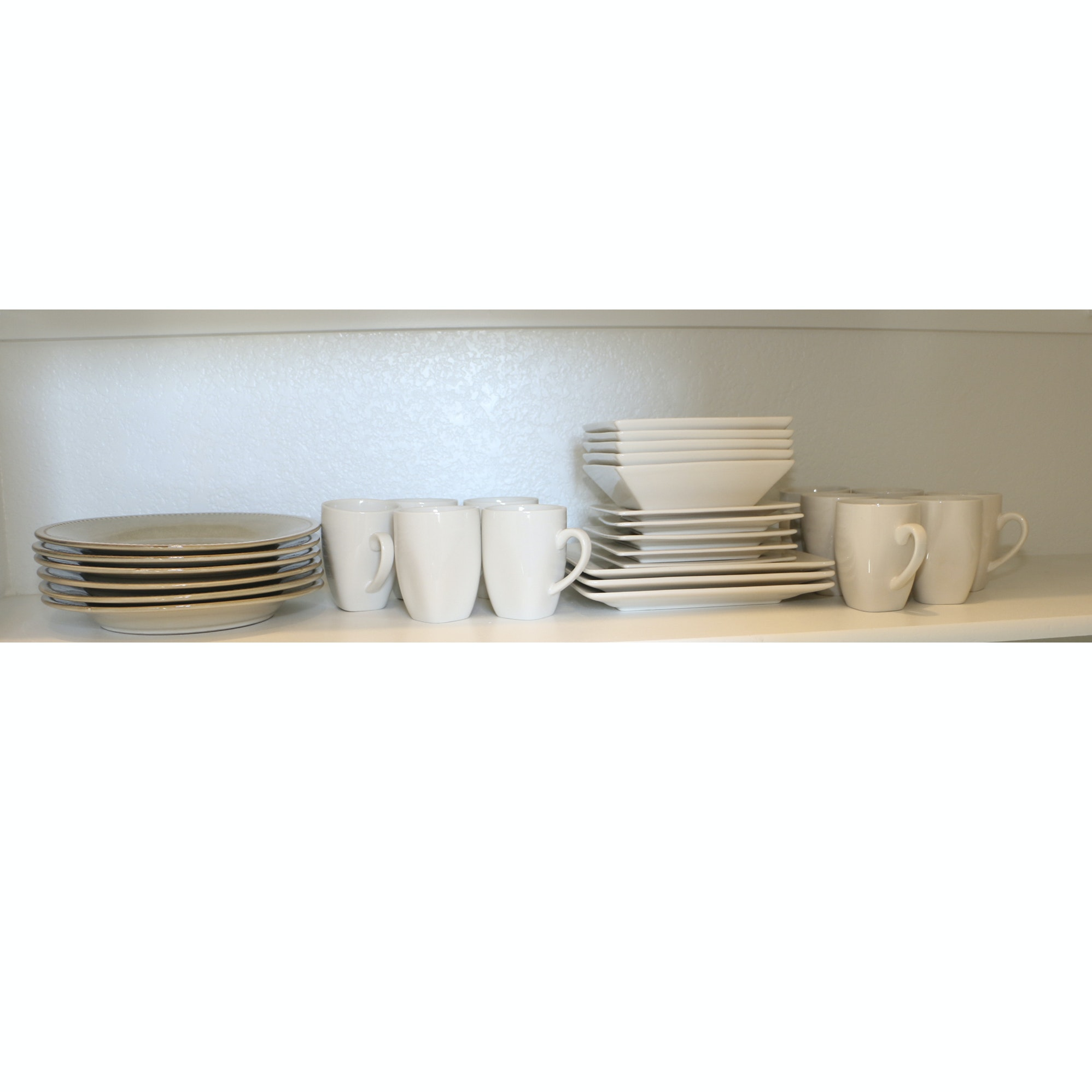 White and Taupe Ceramic Dinnerware featuring Pier1 Imports