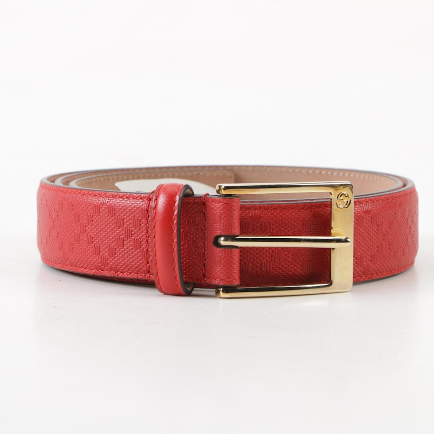 4a8878e1118 Gucci Hilary Lux Diamante Motif Red Leather Belt
