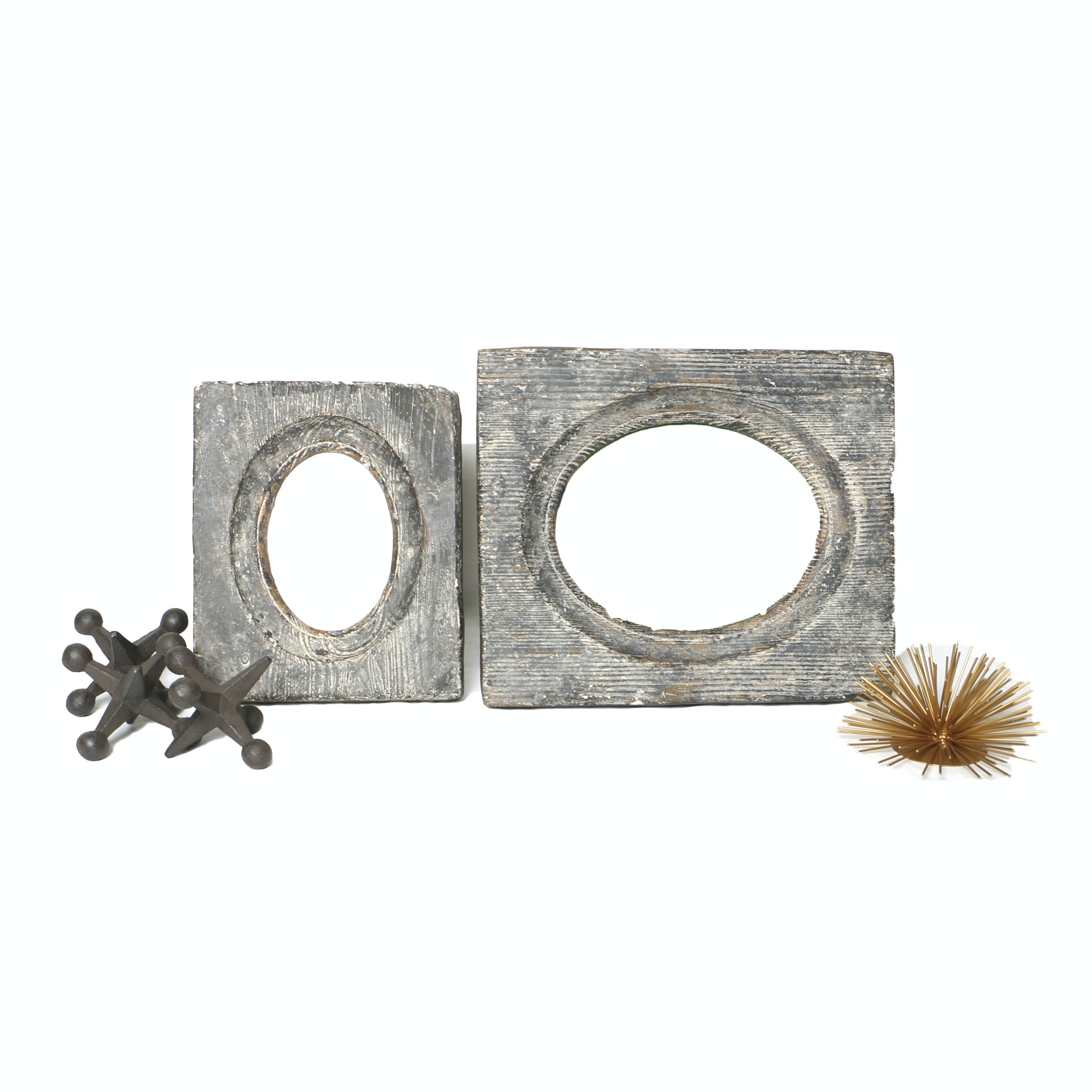 Distressed Table Top Picture Frames with Metal Jacks and Sunburst Figurine