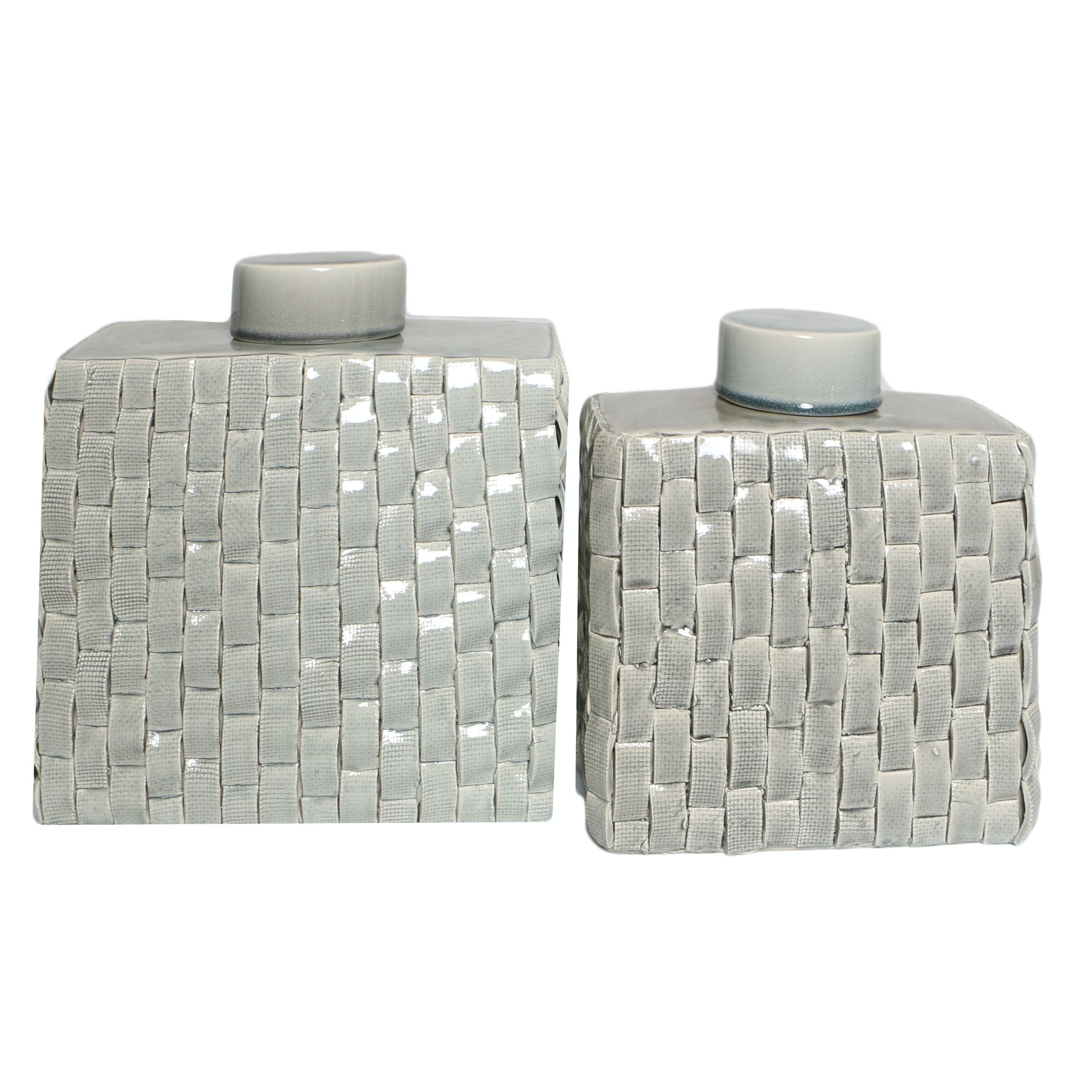 Ceramic Basketweave Jars with Lids