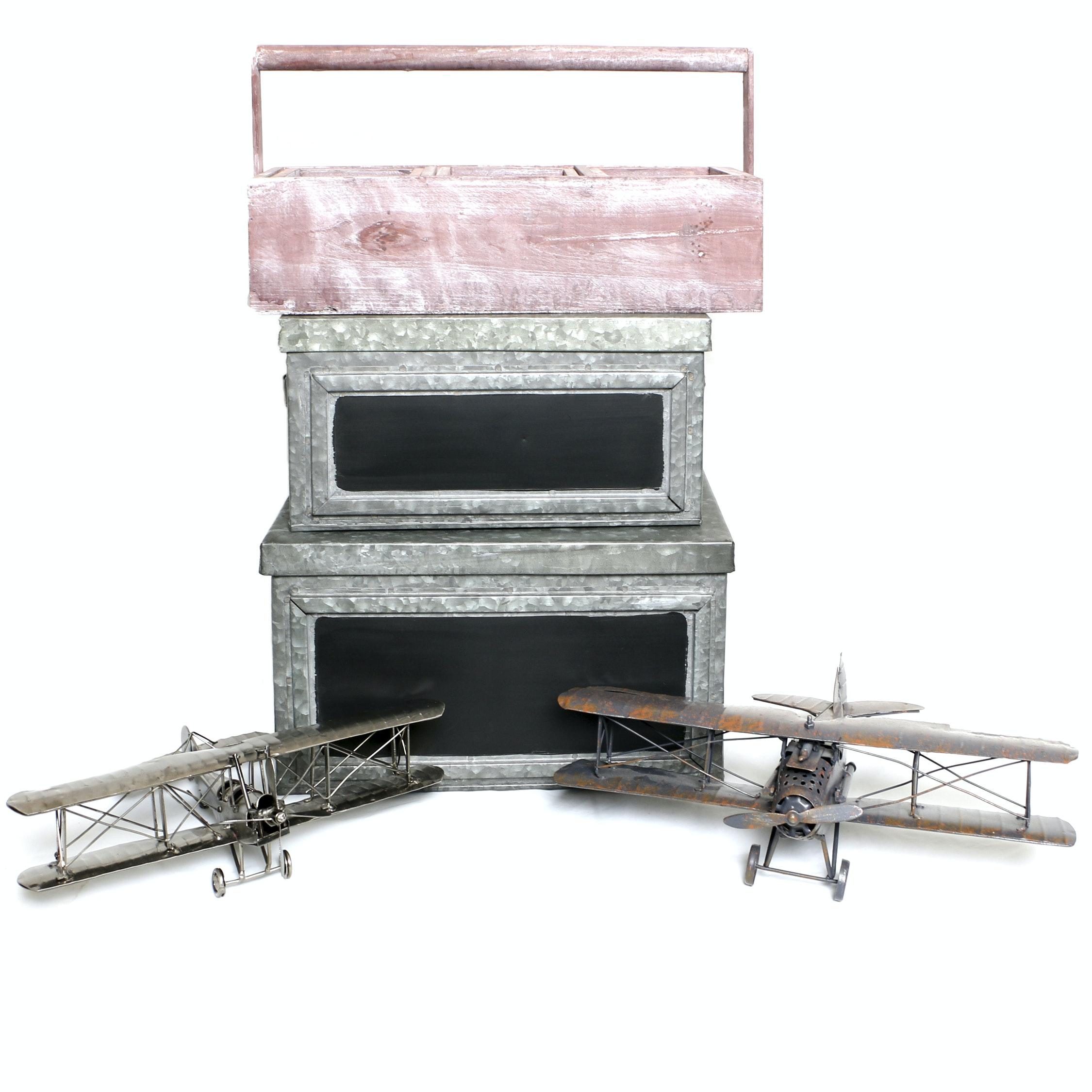 Decorative Storage Boxes with Model Biplanes