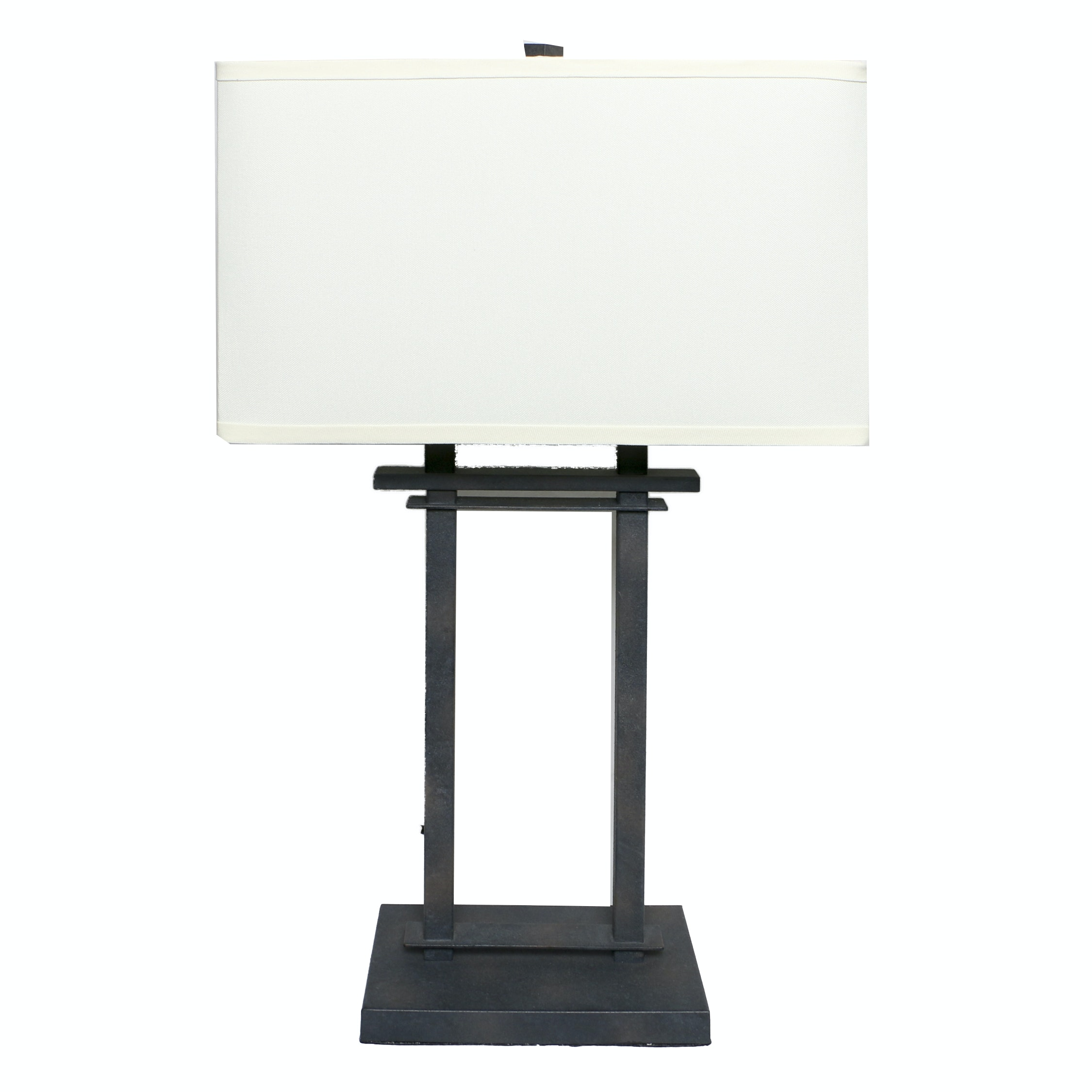 Black Metal Structural Table Lamp with Rectangular Shade