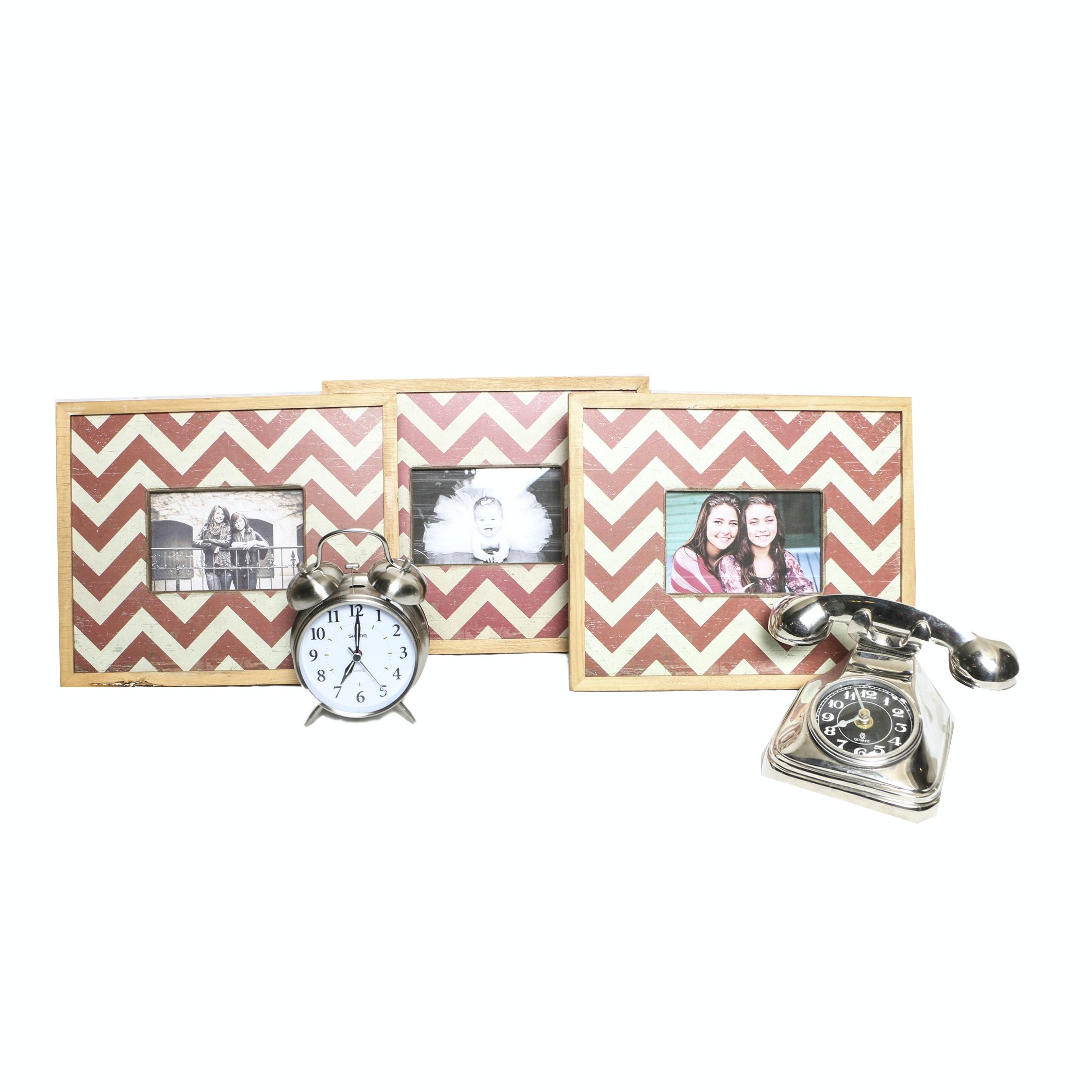 Picture Frames and Decor Including Retro Telephone Quartz Clock