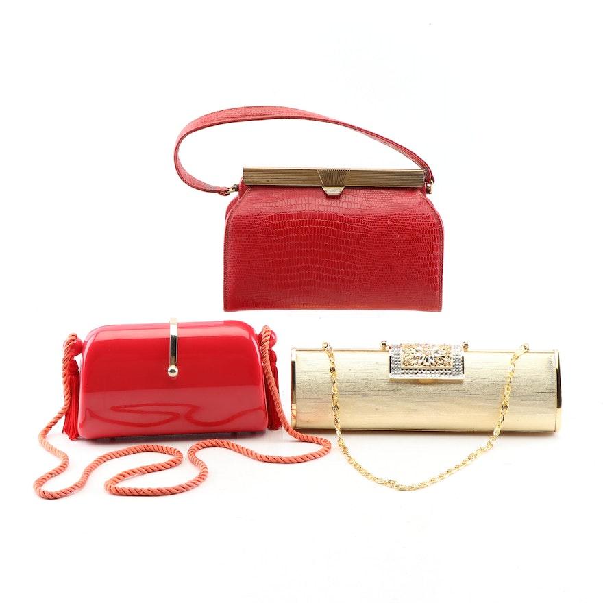 fe6a52f3e561 Minaudière Purses and Embossed Leather Frame Handbag