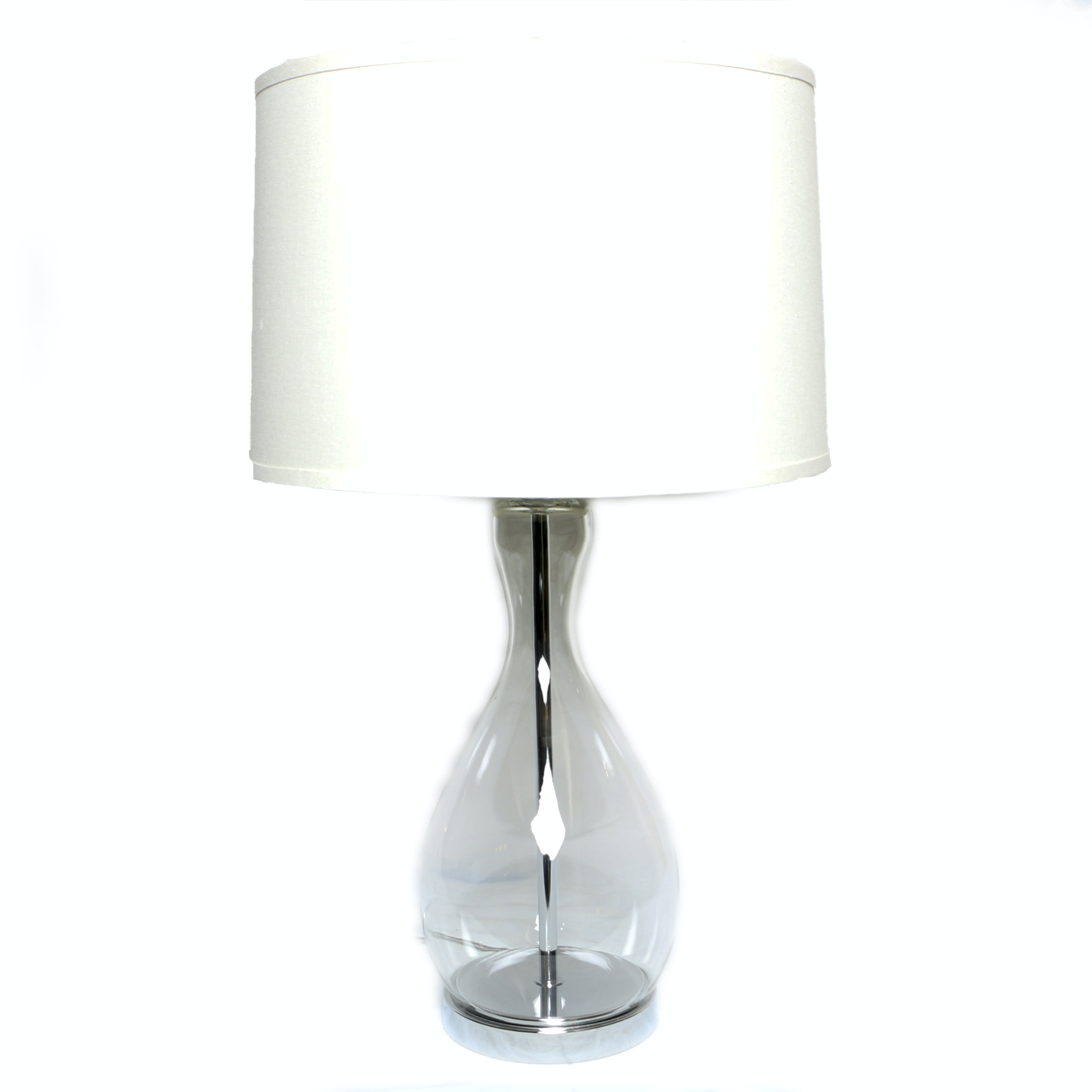 Modern Glass Table Lamp with Drum Shade
