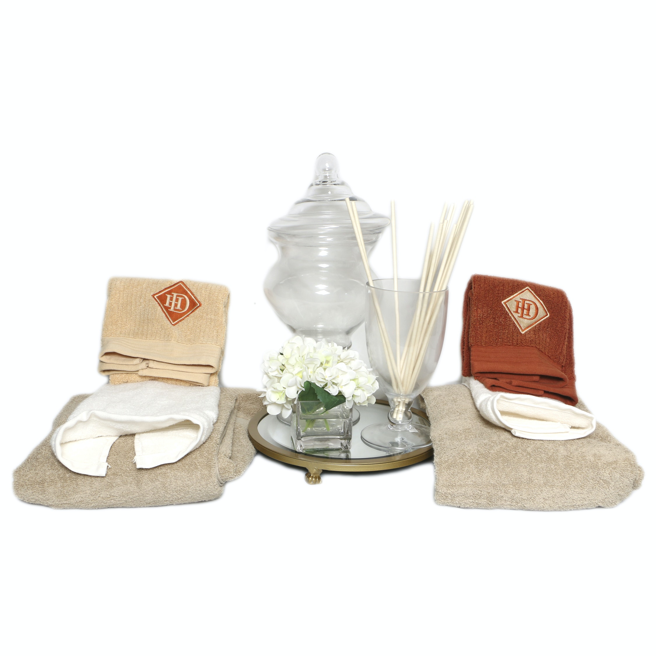 Bathroom Towels and Accessories including Lidded Glass Jar