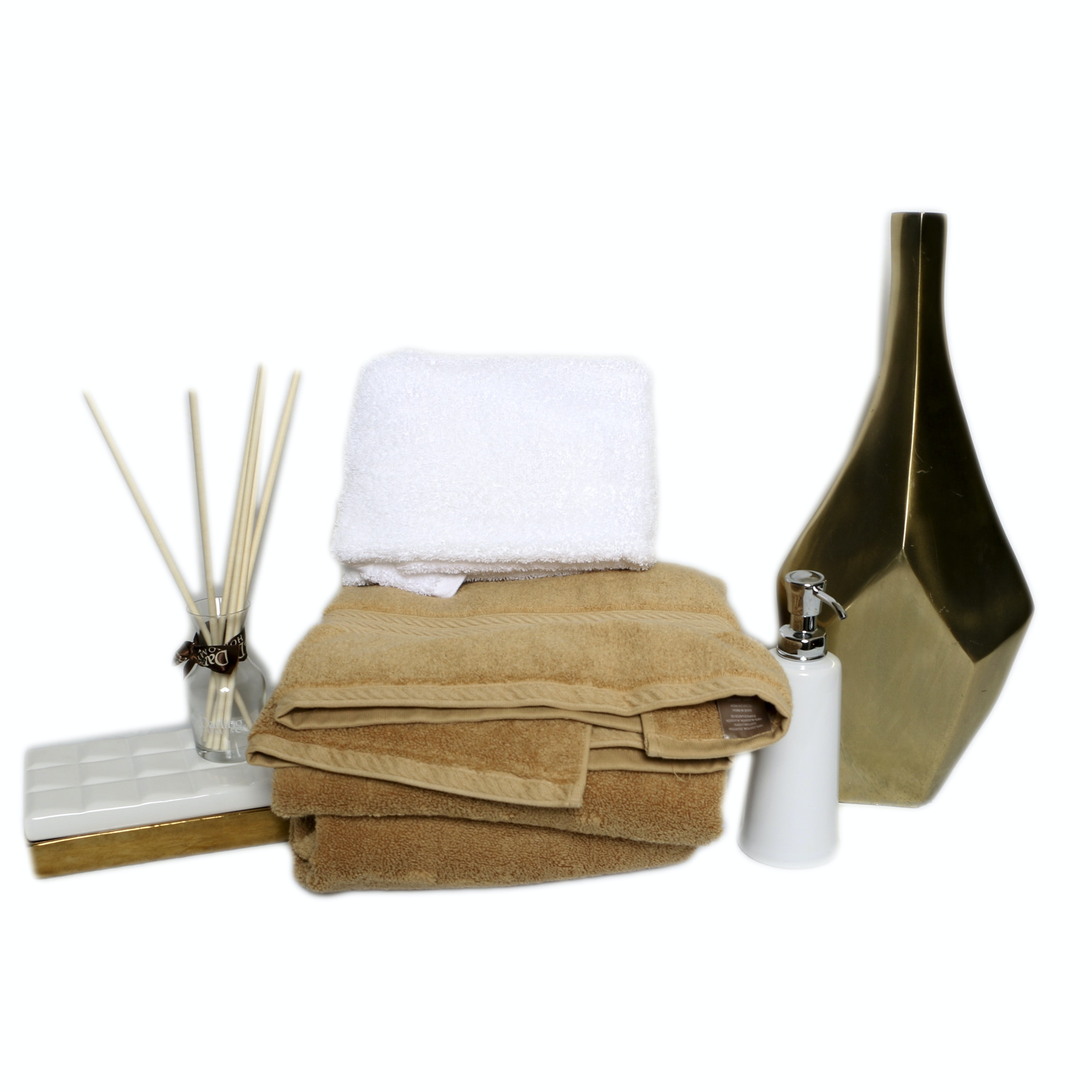 Towels, Soap Dispenser, and Lidded Box with Vase