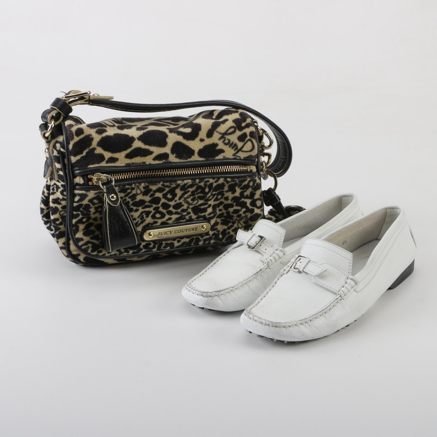 64449a3c998 Tod s White Leather Loafers and Juicy Couture Animal Print Bag
