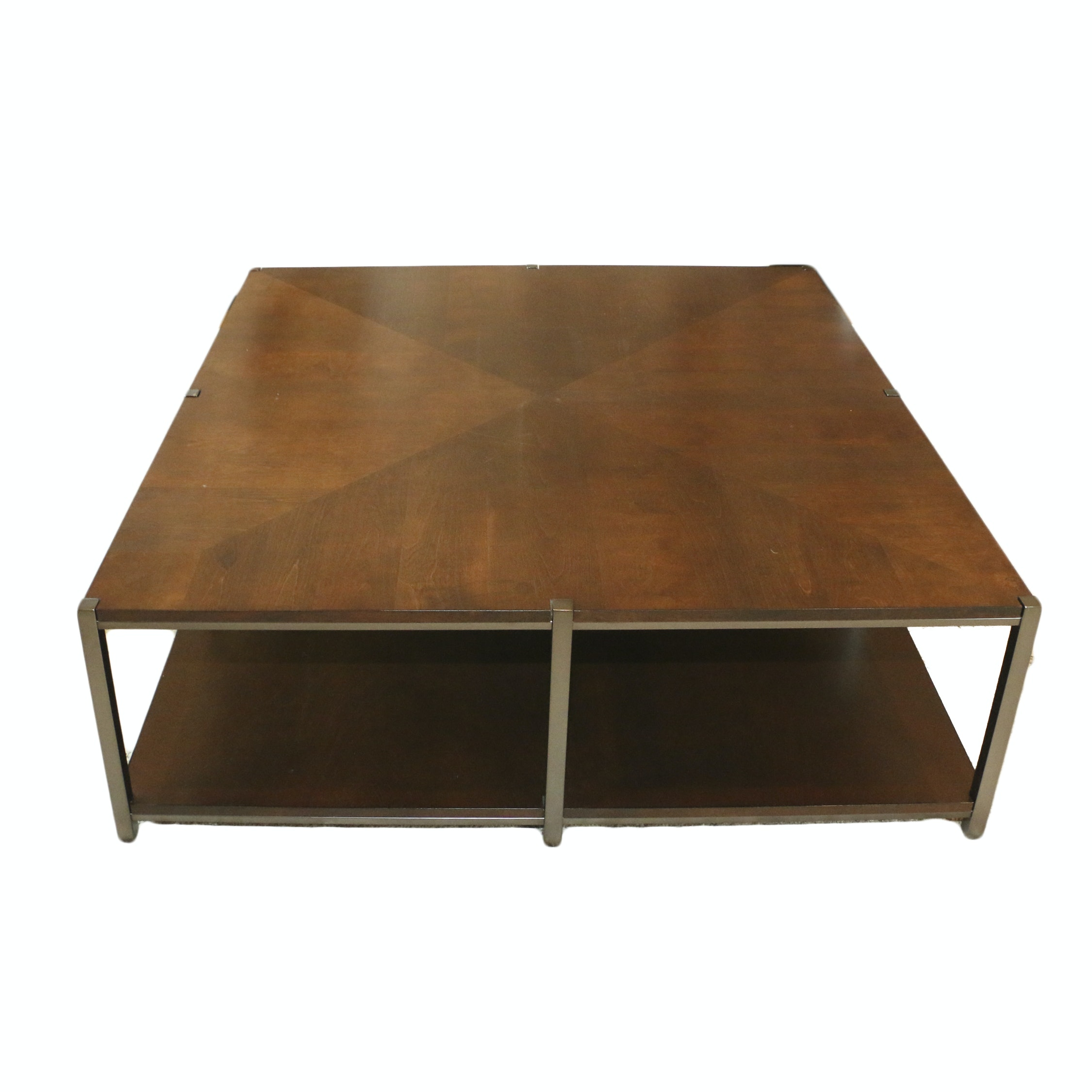 Two-Tier Wood and Metal Coffee Table, 21st Century