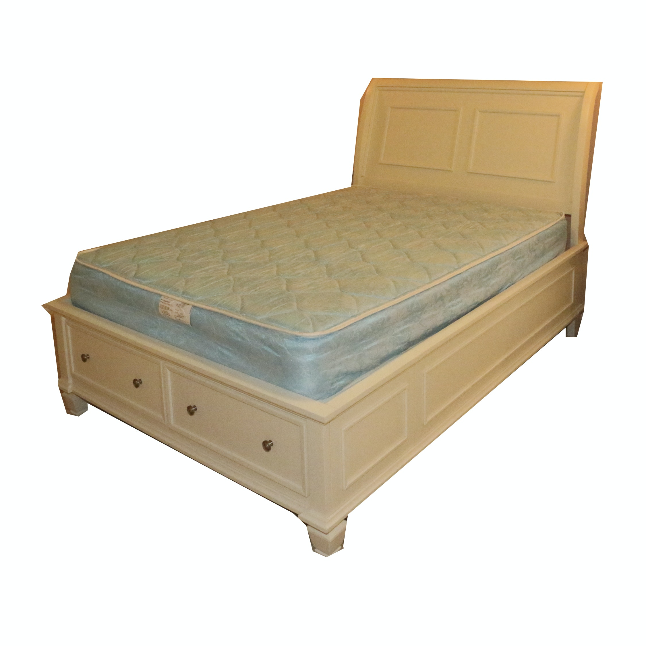 White Laminate Full Size Bed Frame with Storage, 21st Century