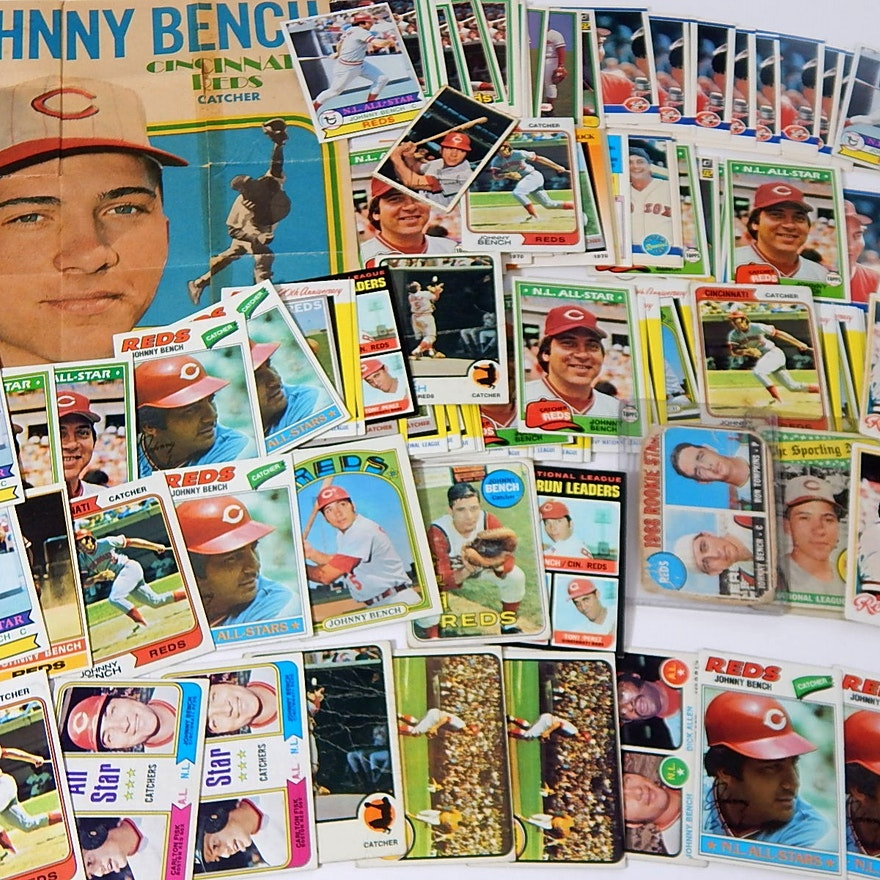 Hof Johnny Bench Baseball Card Collection From 1968 To 1980s
