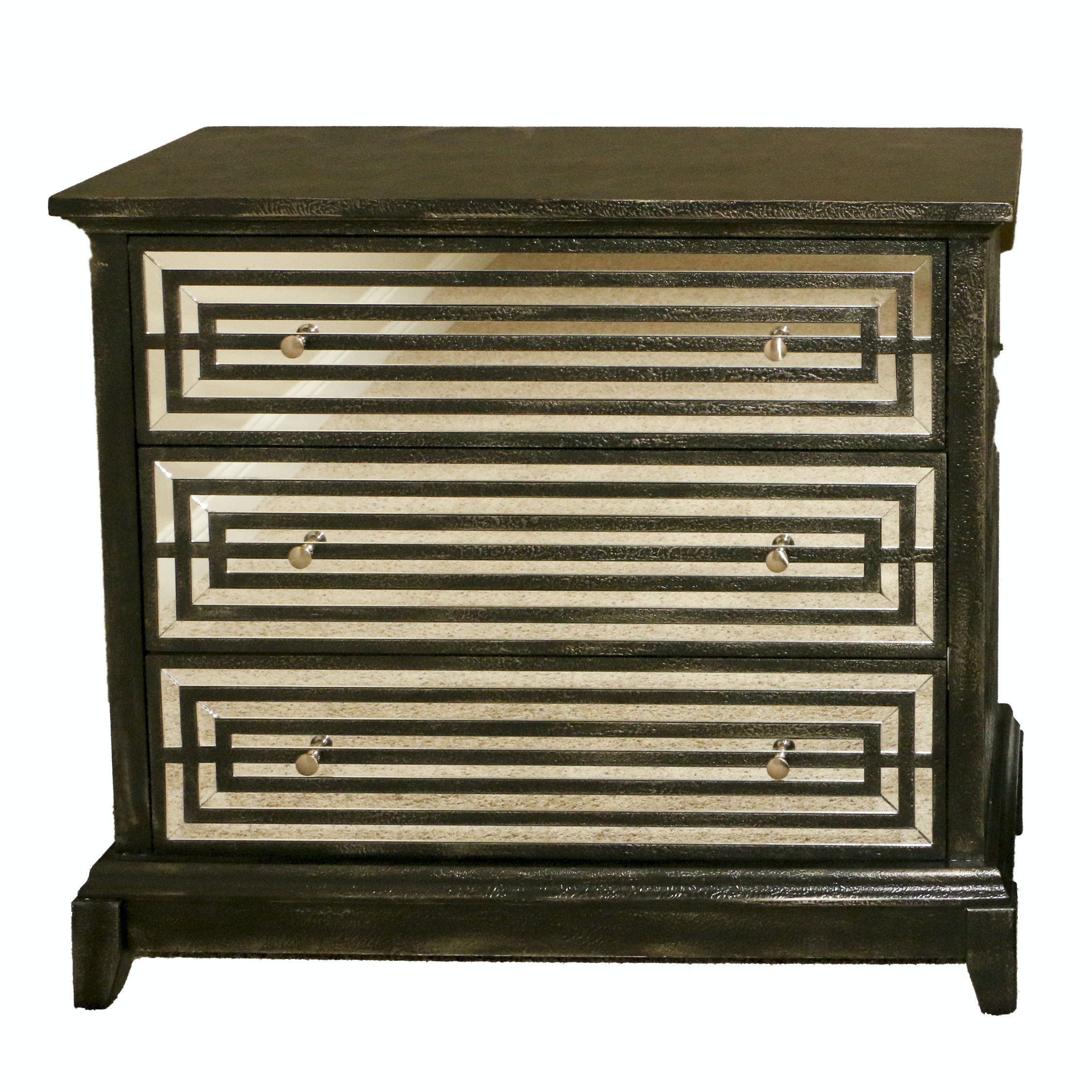 Black Wooden Nightstand with Mirrored Drawer Fronts, 21st Century