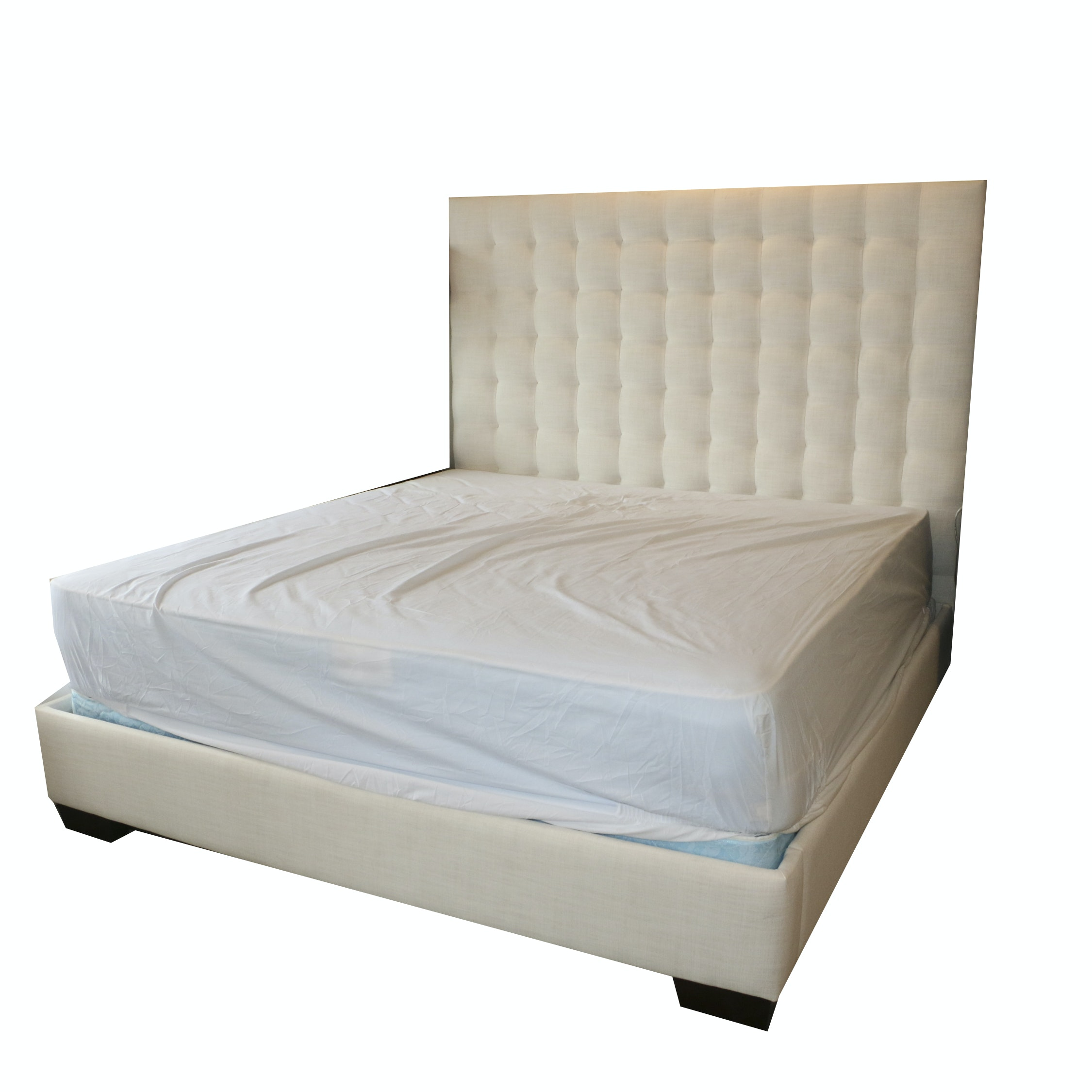 Grid Tufted Upholstered King Size Bed Frame, 21st Century